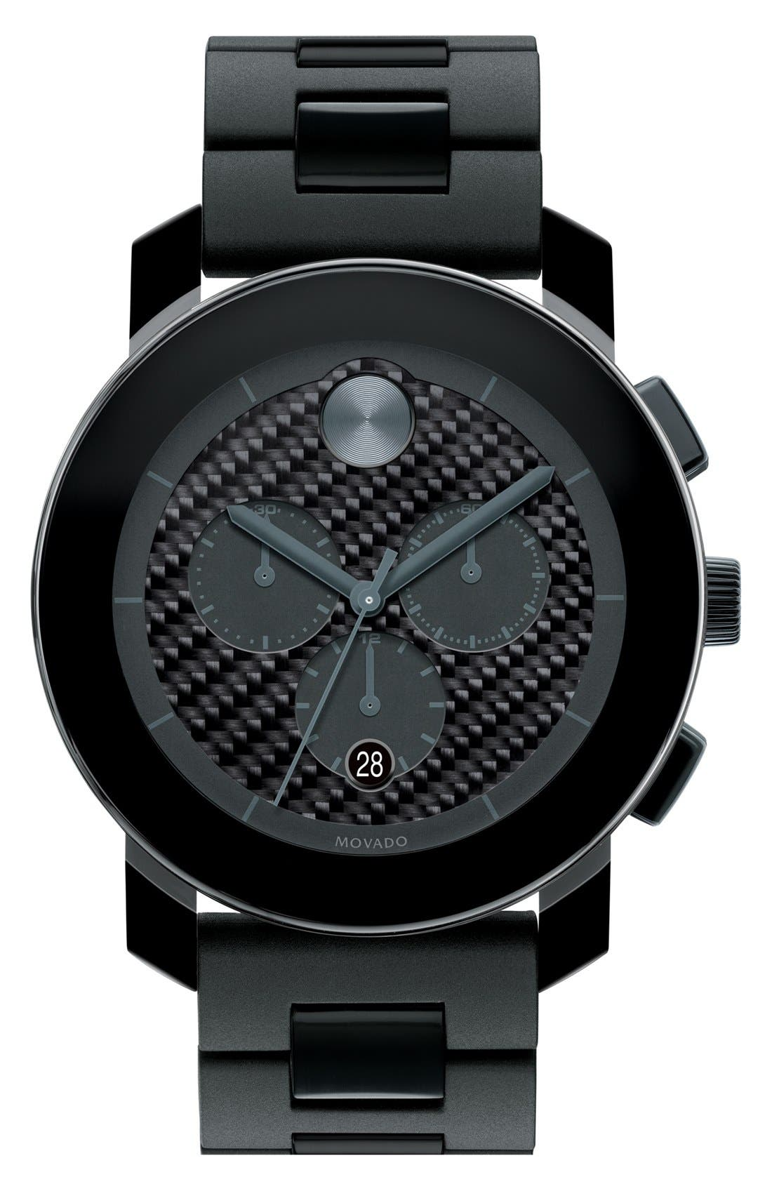 Main Image - Movado 'Bold Chrono' Carbon Fiber Dial Watch, 44mm