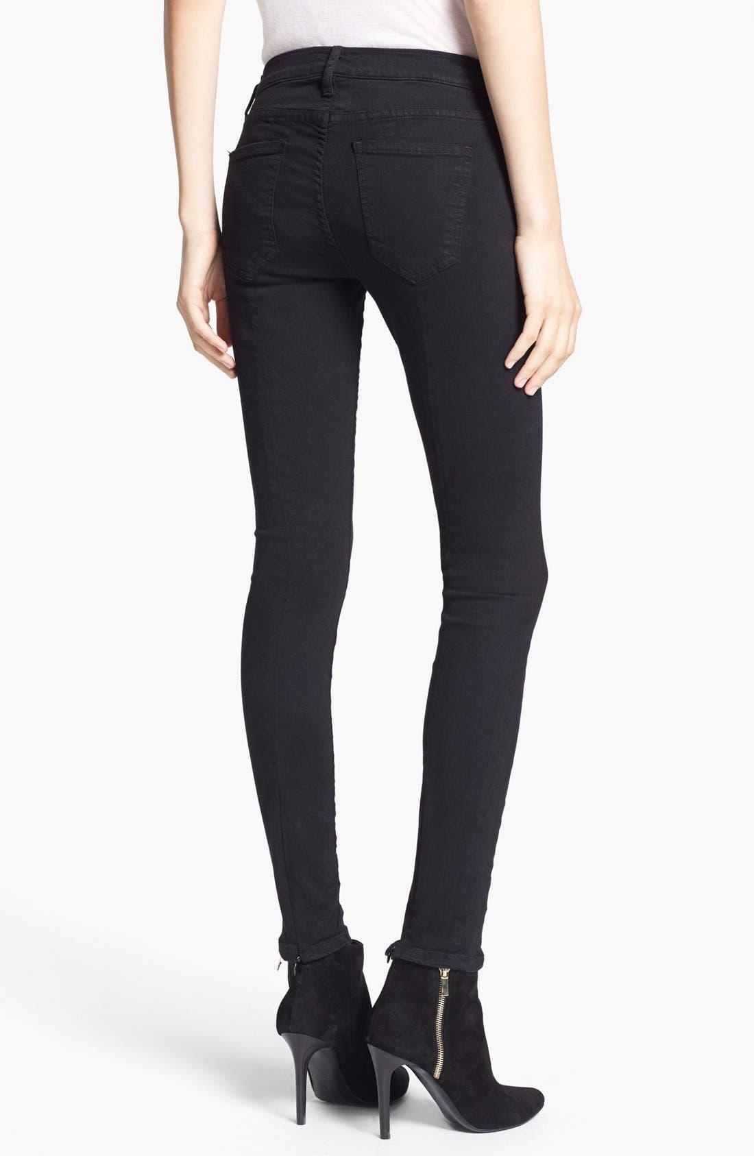 Alternate Image 2  - Current/Elliott 'The Ankle Seamstress' Skinny Jeans (Jet Black)