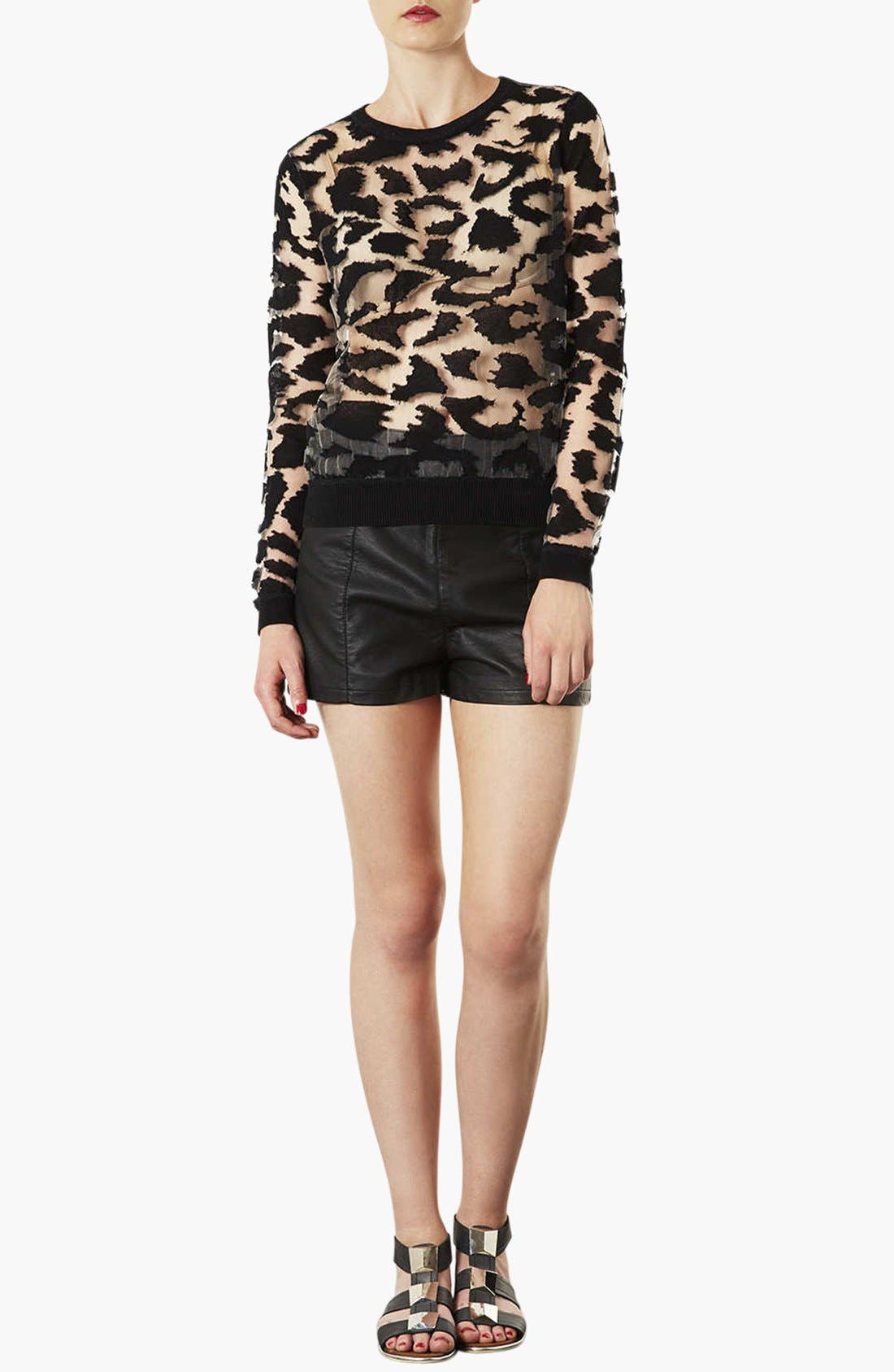 Alternate Image 3  - Topshop 'Lola' High Waist Faux Leather Shorts