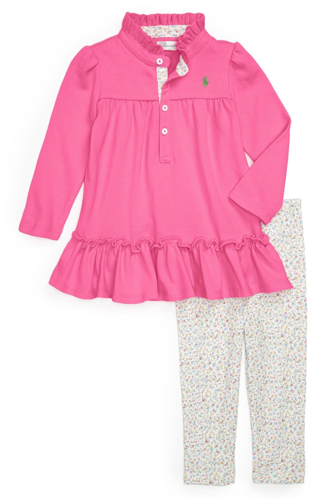 Alternate Image 1 Selected - Ralph Lauren Dress & Leggings (Baby Girls)
