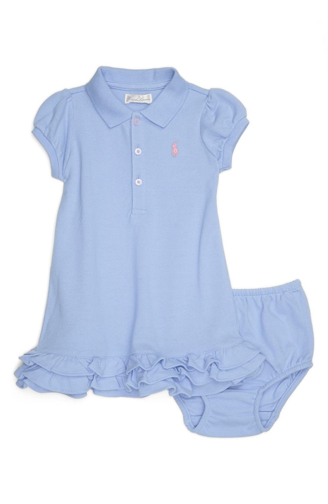 Alternate Image 1 Selected - Ralph Lauren Polo Dress & Bloomers (Baby Girls)