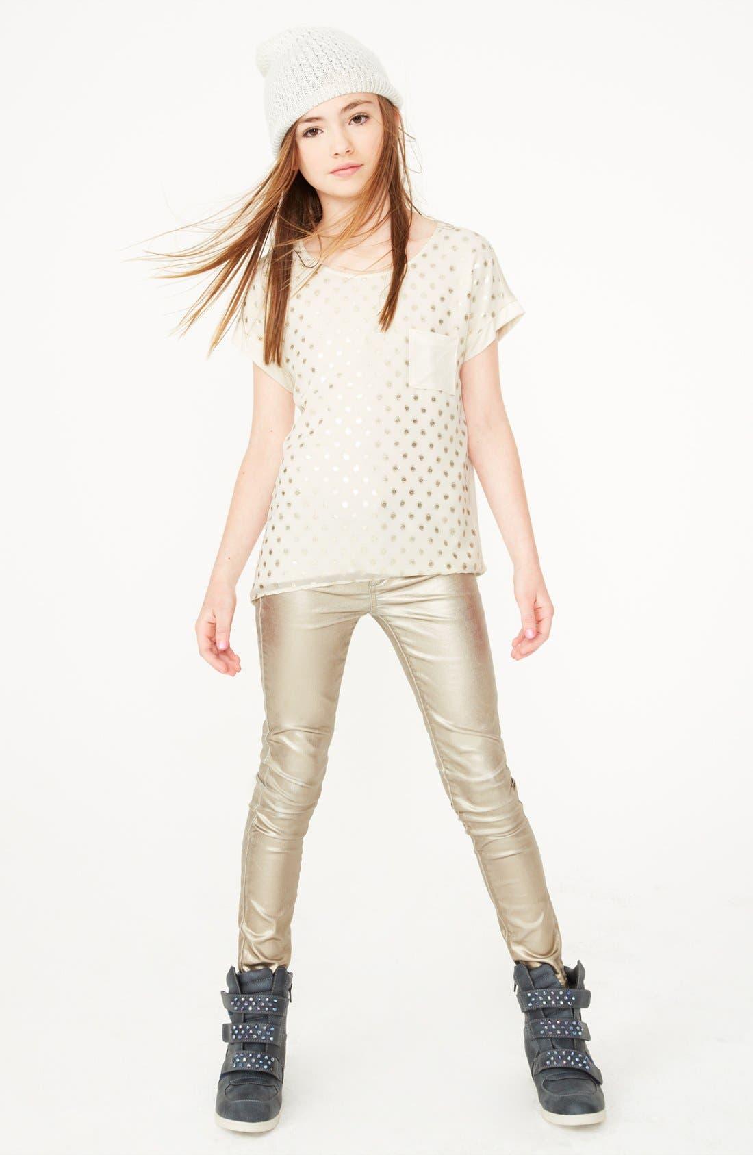Alternate Image 2  - Soprano Sequin Dot Tee & Joe's Foil Skinny Jeans (Big Girls)