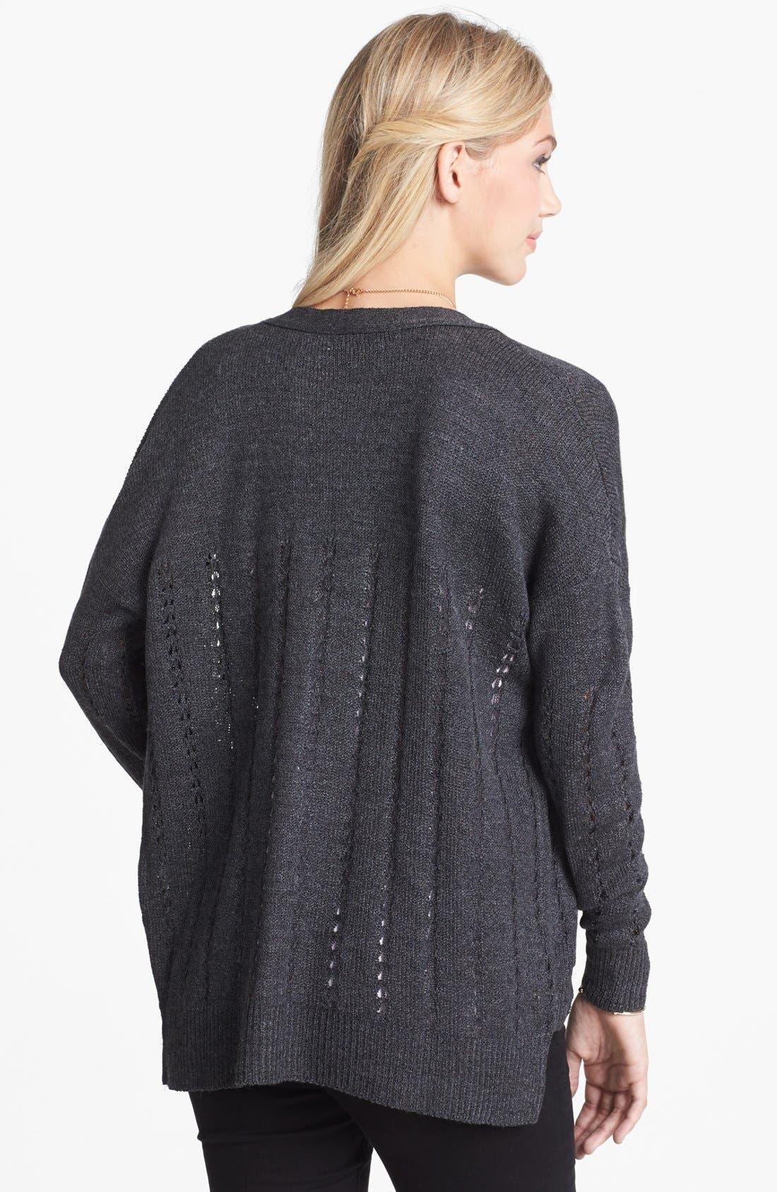 Alternate Image 2  - Cotton Emporium Pointelle Knit Cardigan (Juniors)