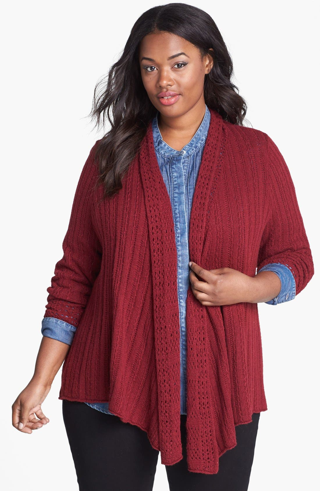 Main Image - Lucky Brand 'Venice' Drape Front Sweater (Plus Size)