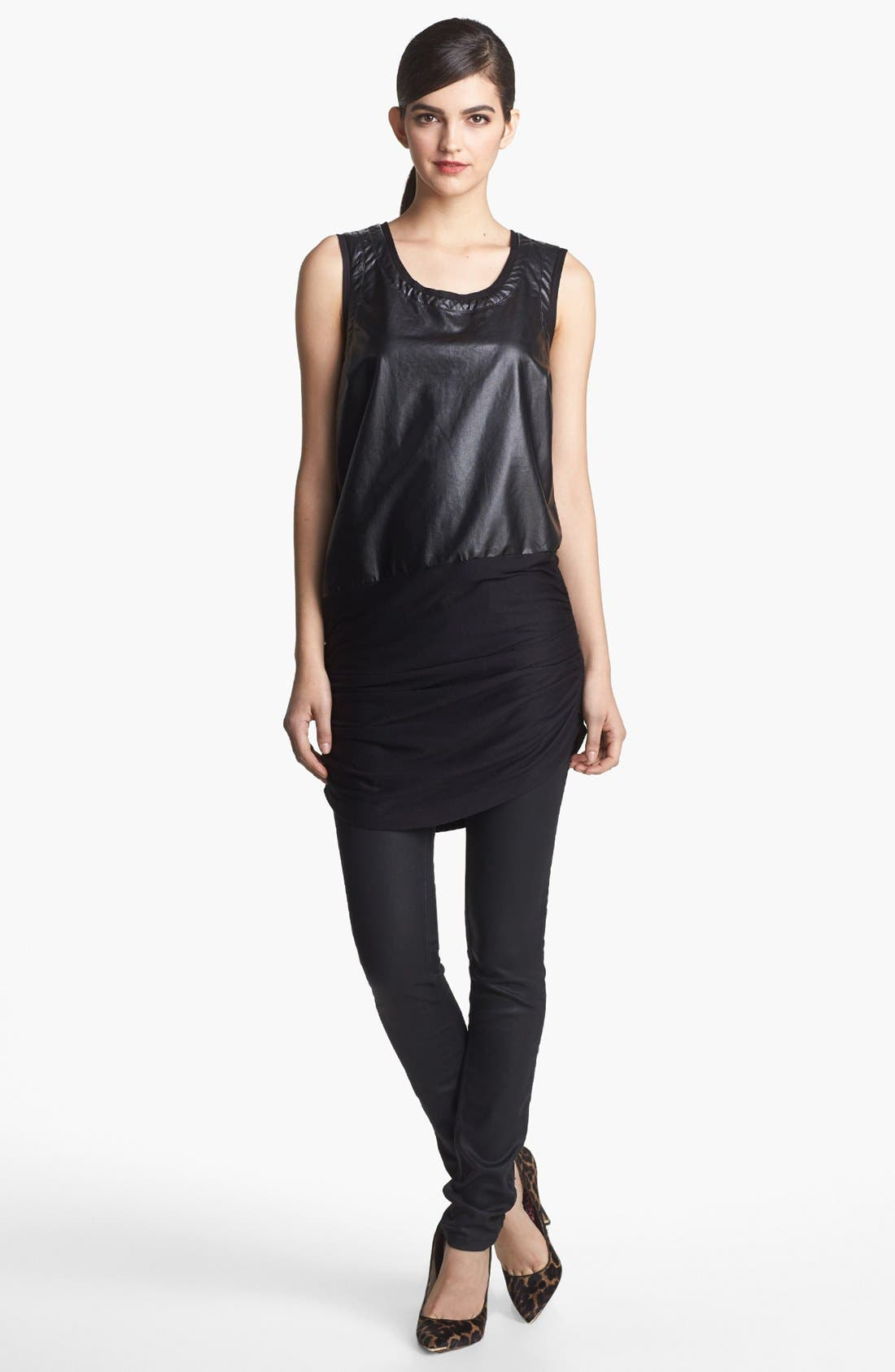 Alternate Image 1 Selected - Robbi & Nikki Faux Leather Panel Tunic