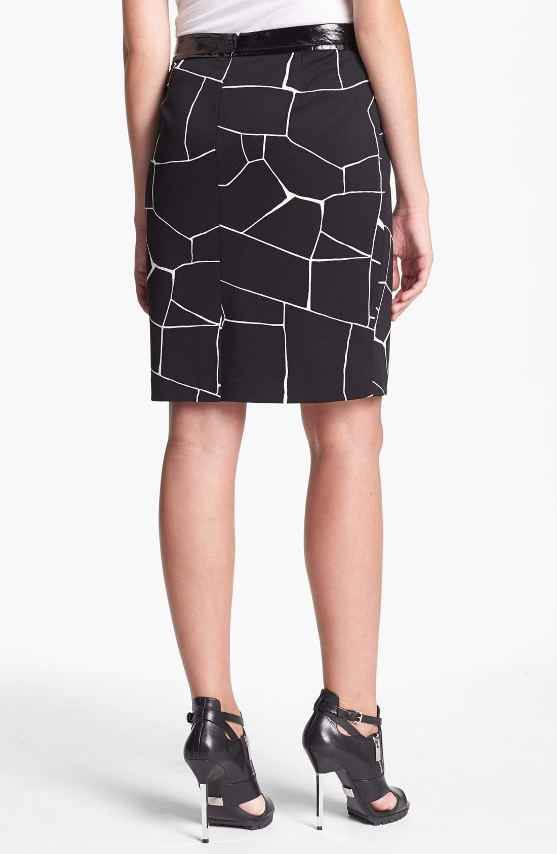 Alternate Image 4  - Vince Camuto Faux Patent Leather Trim Print Pencil Skirt