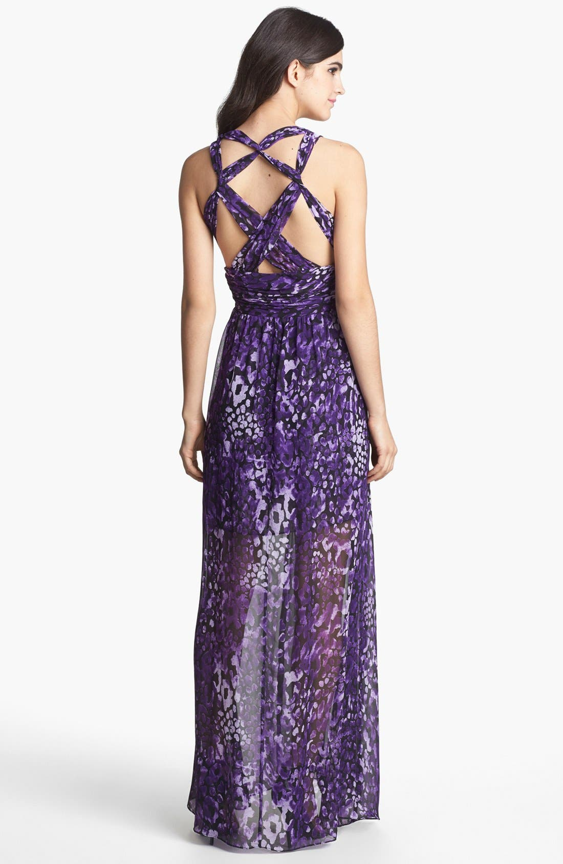 Alternate Image 2  - Hailey by Adrianna Papell Cross Back Print Chiffon Maxi Dress