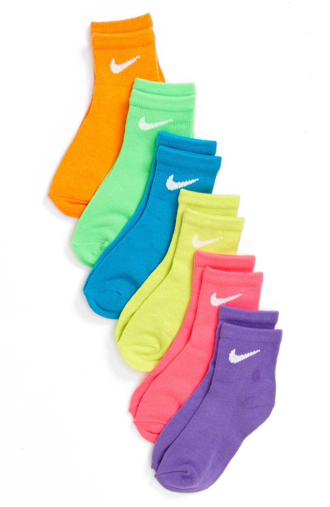 Main Image - Nike 'Neon' Low Cut Socks (6-Pack) (Toddler Girls & Little Girls)