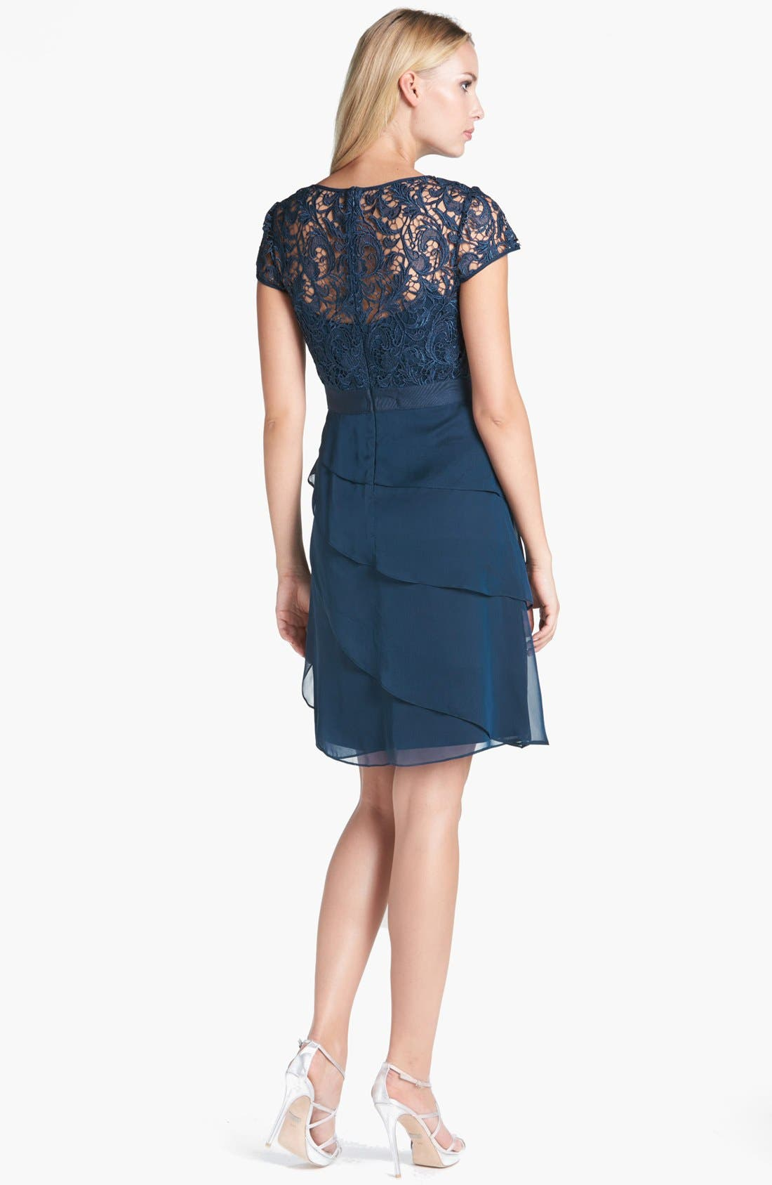 Alternate Image 2  - Adrianna Papell Lace & Tiered Chiffon Dress (Regular & Petite)
