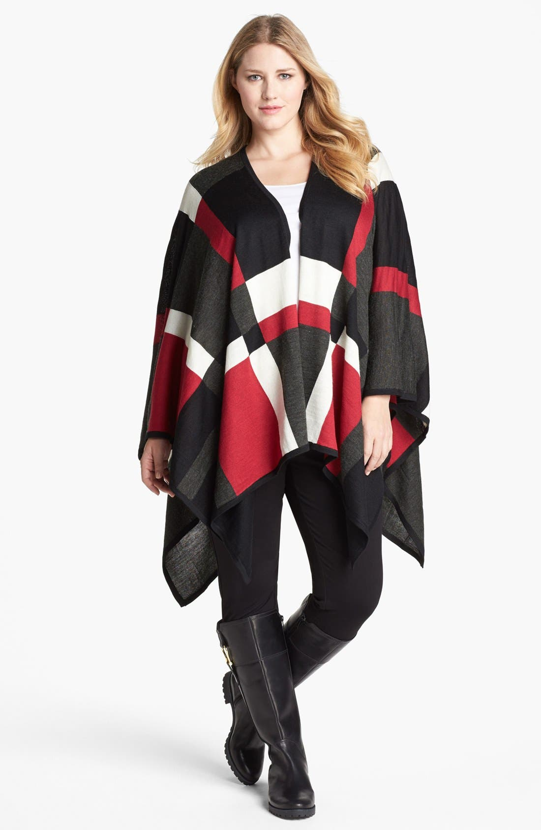 Alternate Image 1 Selected - Foxcroft Plaid Poncho Sweater (Plus Size)