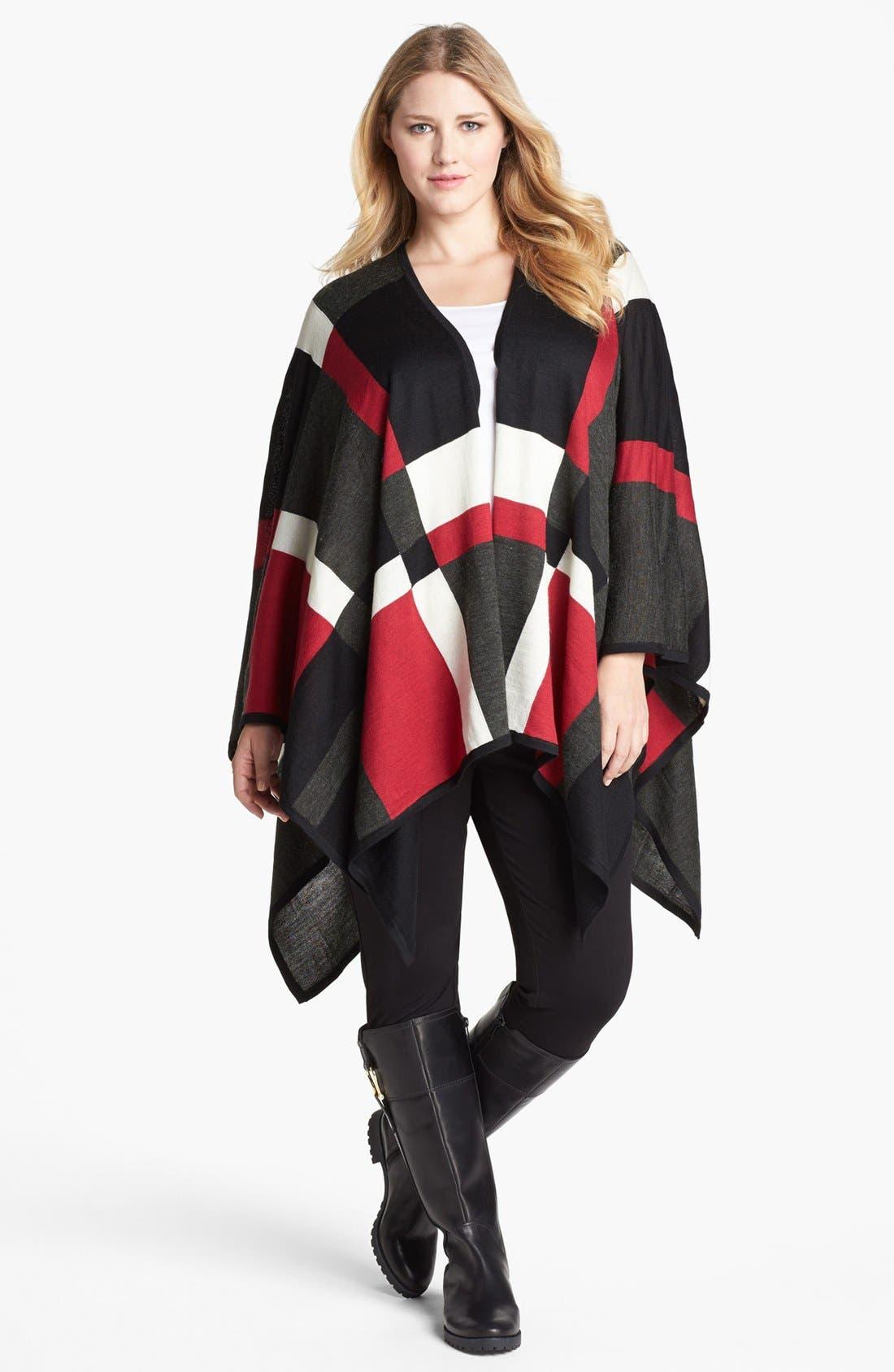 Main Image - Foxcroft Plaid Poncho Sweater (Plus Size)