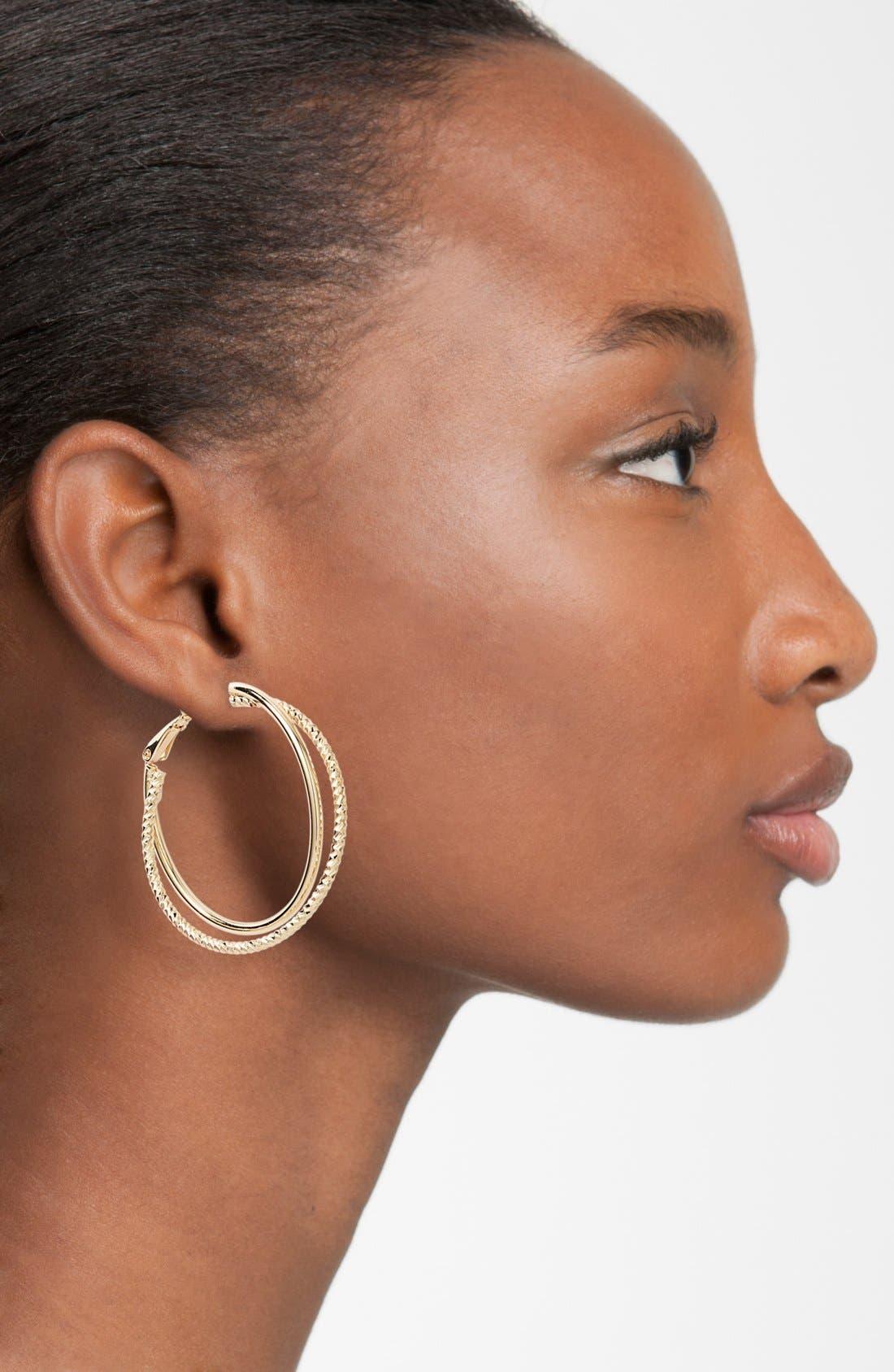 Alternate Image 2  - Nordstrom Textured Hoop Earrings