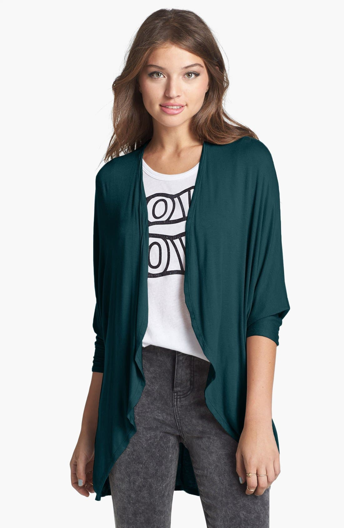 Main Image - Painted Threads 'Ashley' Open Front Dolman Cardigan (Juniors)