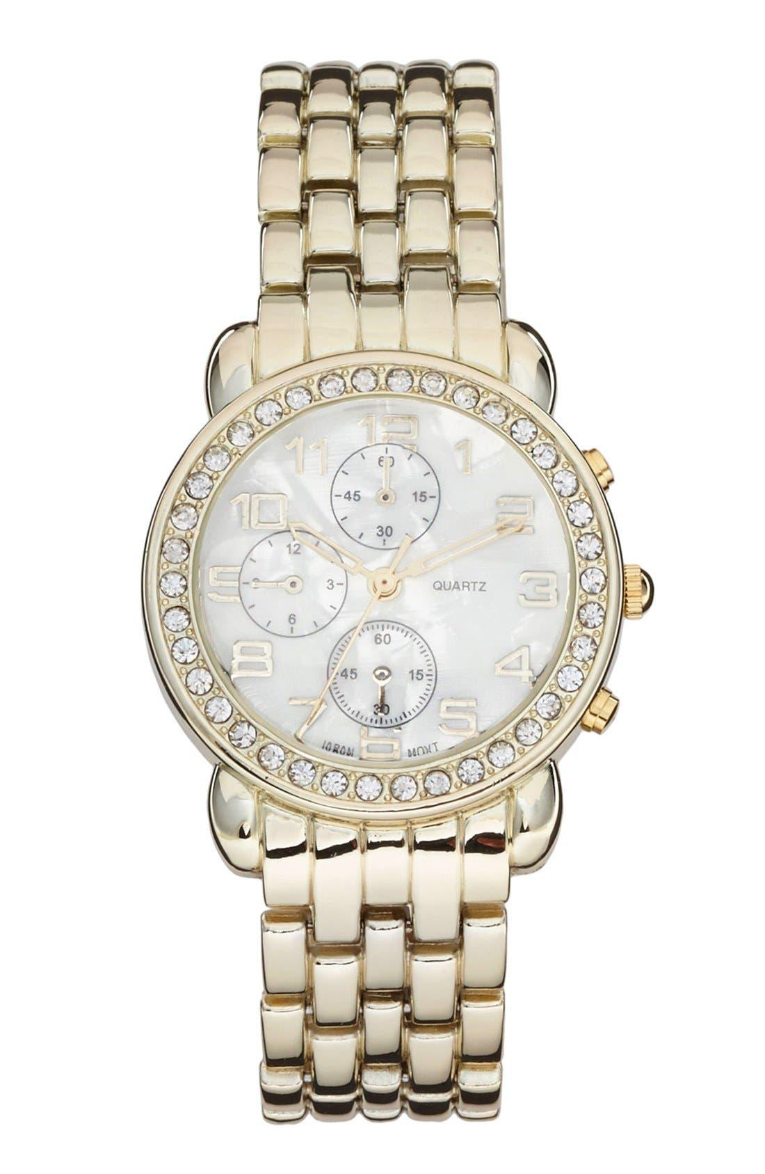 Main Image - Titanium Rhinestone Small Bracelet Watch, 34mm (Juniors) (Online Only)