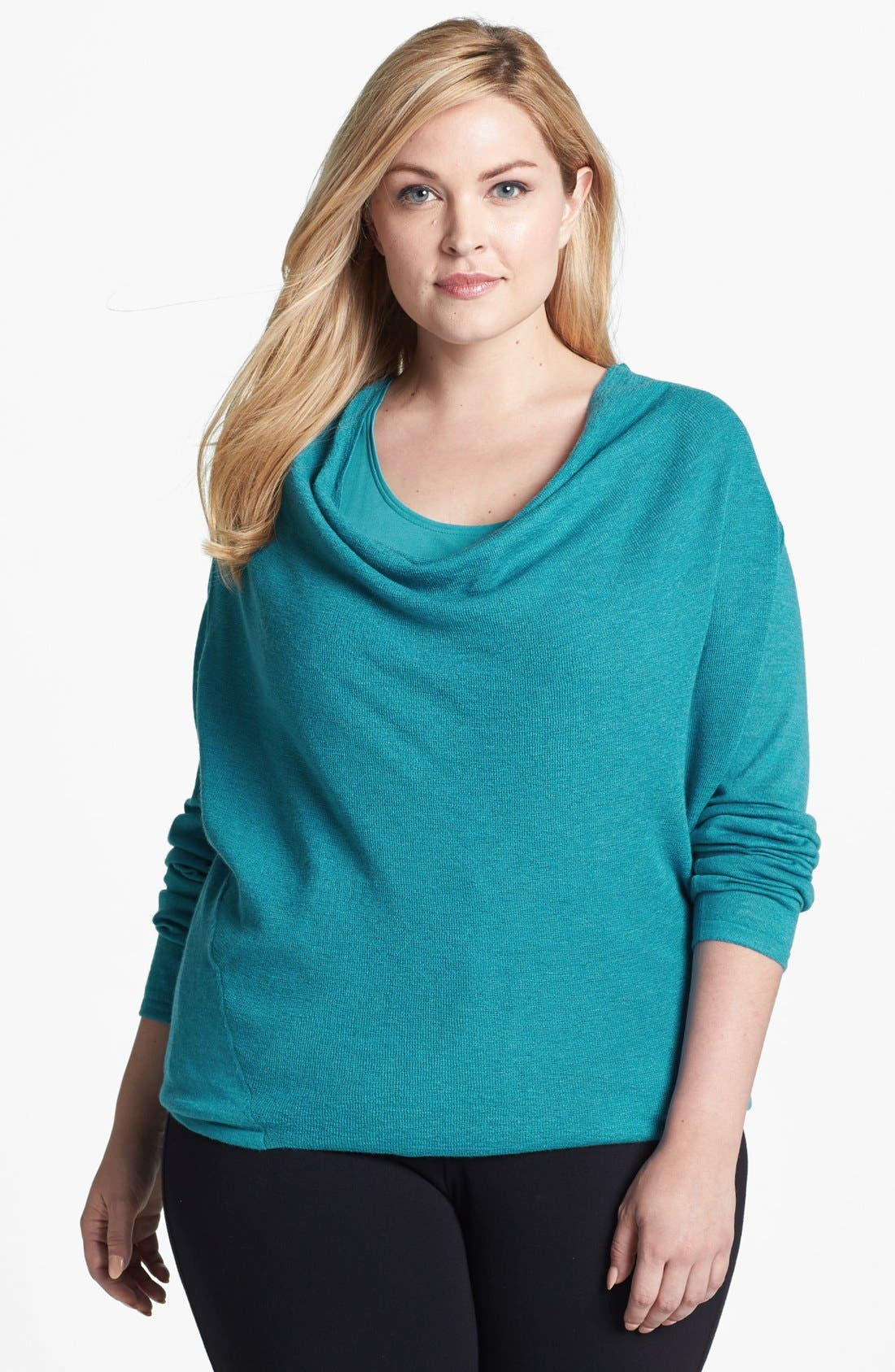 Alternate Image 1 Selected - Eileen Fisher Draped Wool Top (Plus Size)