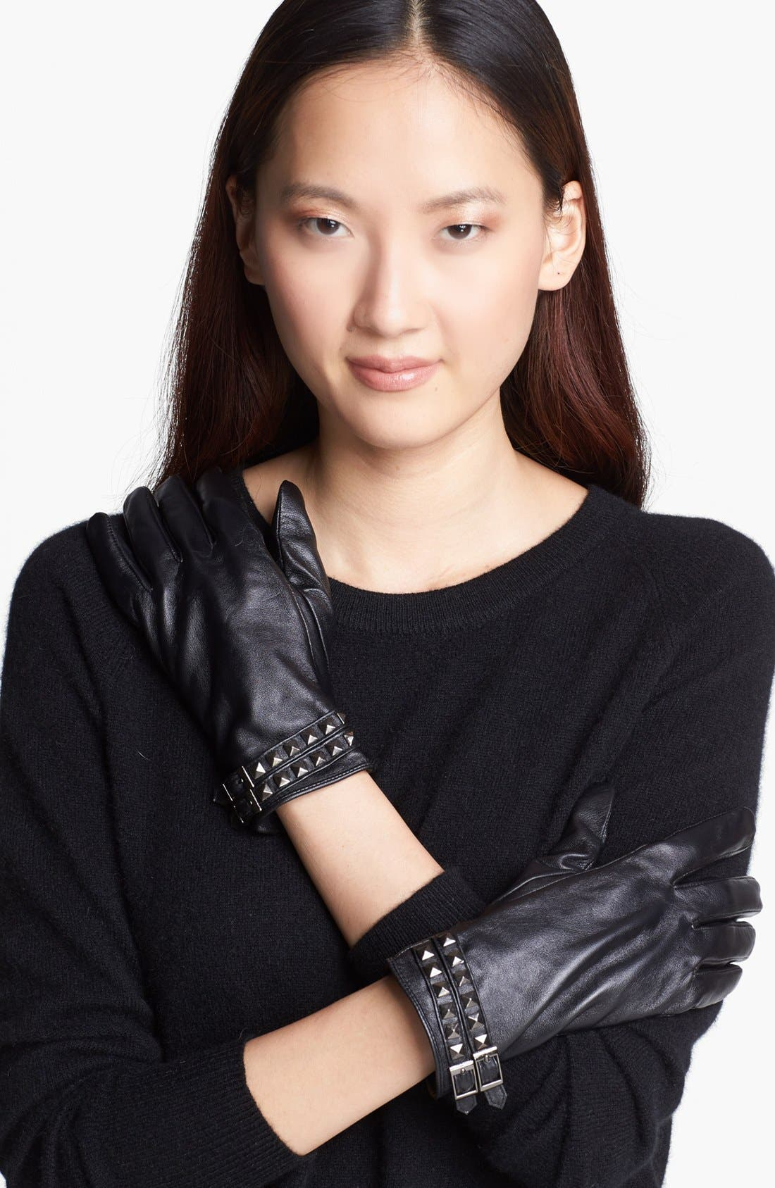 Alternate Image 1 Selected - Surell Studded Leather Gloves