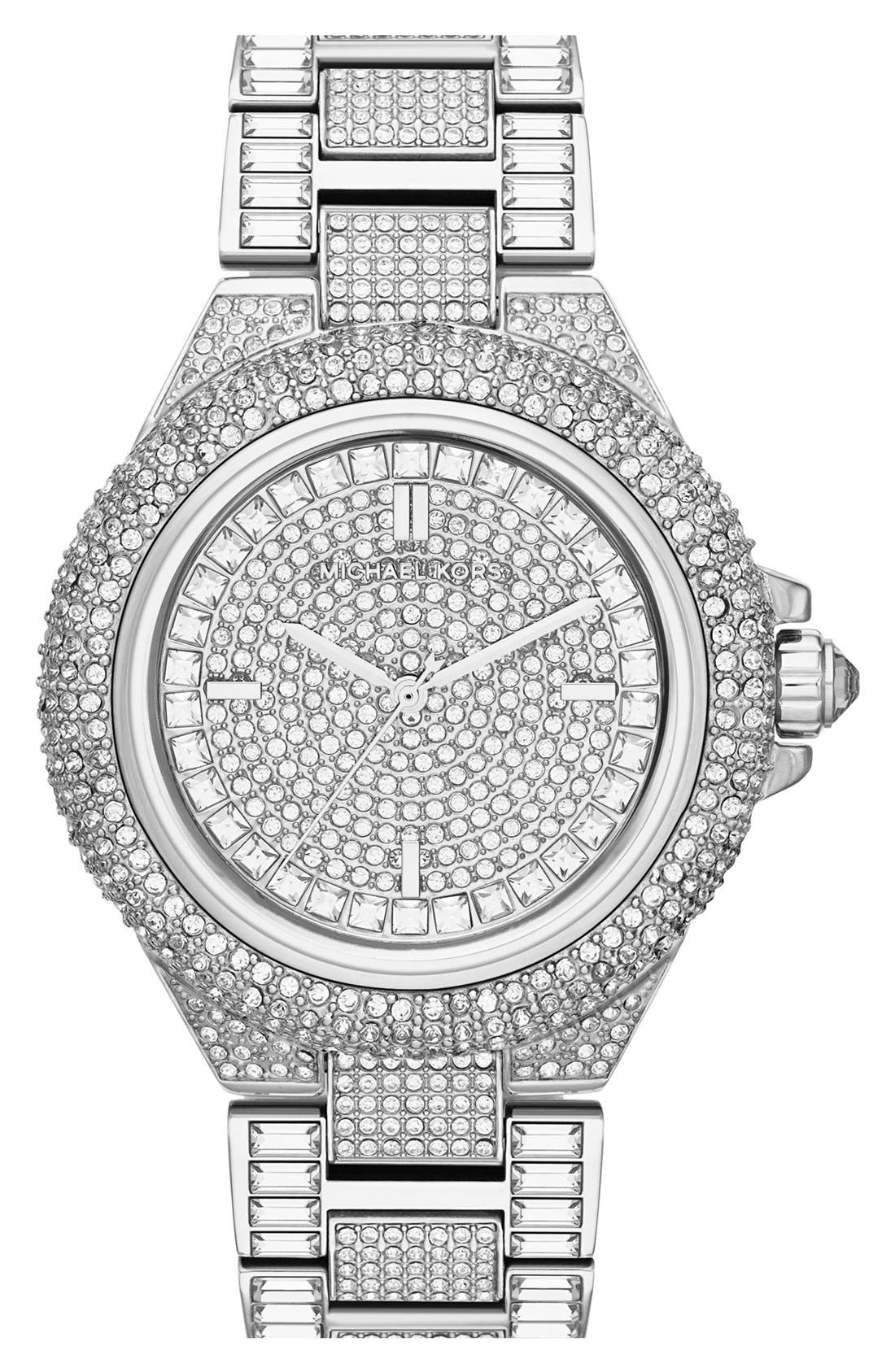 Alternate Image 1 Selected - Michael Kors 'Camille' Crystal Encrusted Bracelet Watch, 44mm