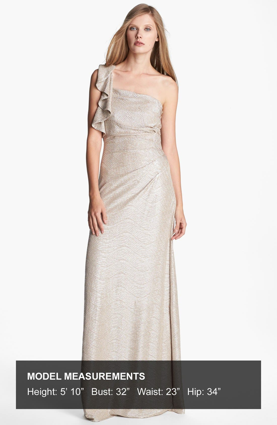 Alternate Image 4  - Hailey by Adrianna Papell Metallic One-Shoulder Gown