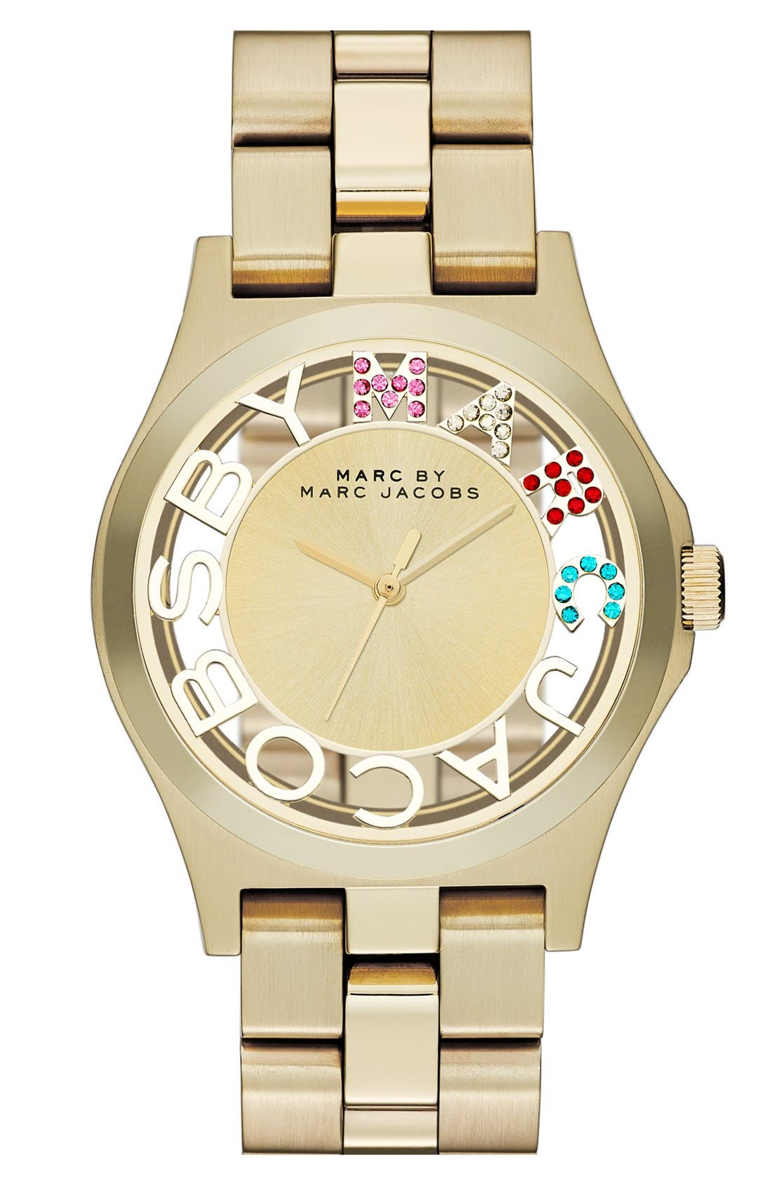 Main Image - MARC JACOBS 'Henry Skeleton Glitz' Bracelet Watch, 40mm