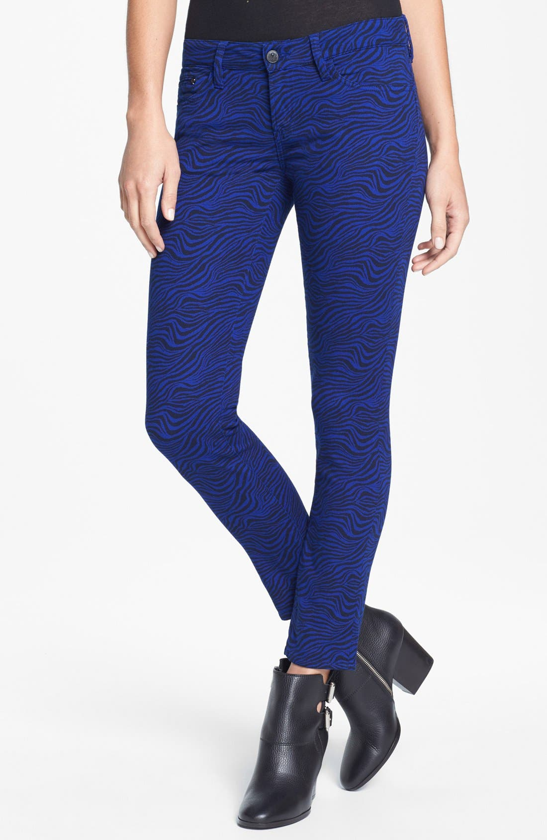 Alternate Image 1 Selected - The Kooples Zebra Print Stretch Skinny Jeans