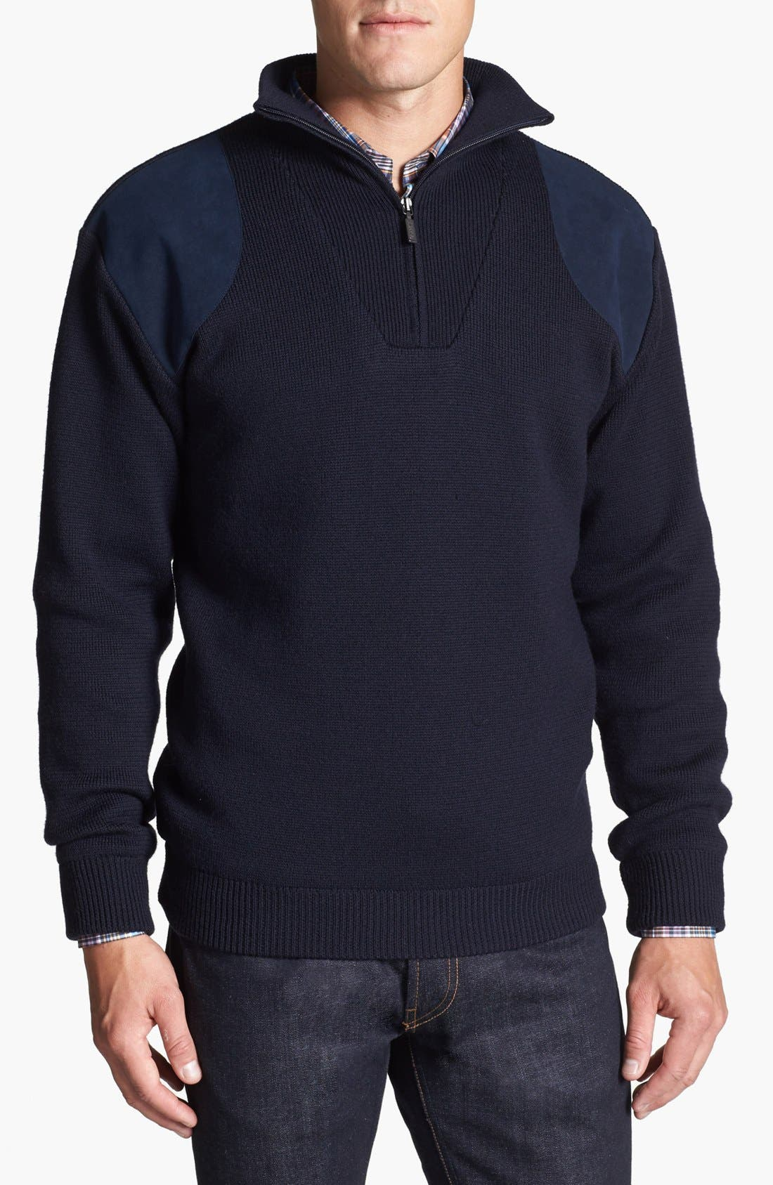 Alternate Image 1 Selected - Barbour 'Storm' Relaxed Fit Half-Zip Merino Wool Sweater