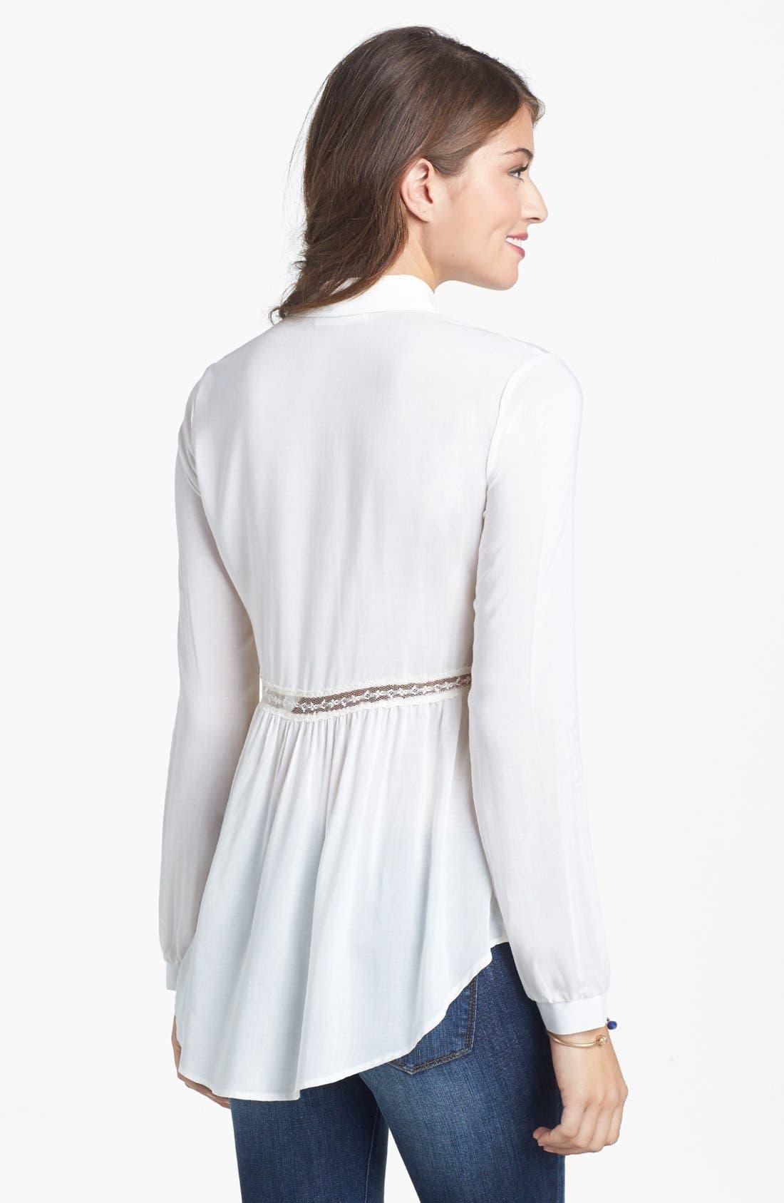 Alternate Image 2  - Lush Lace Trim Shirt (Juniors)