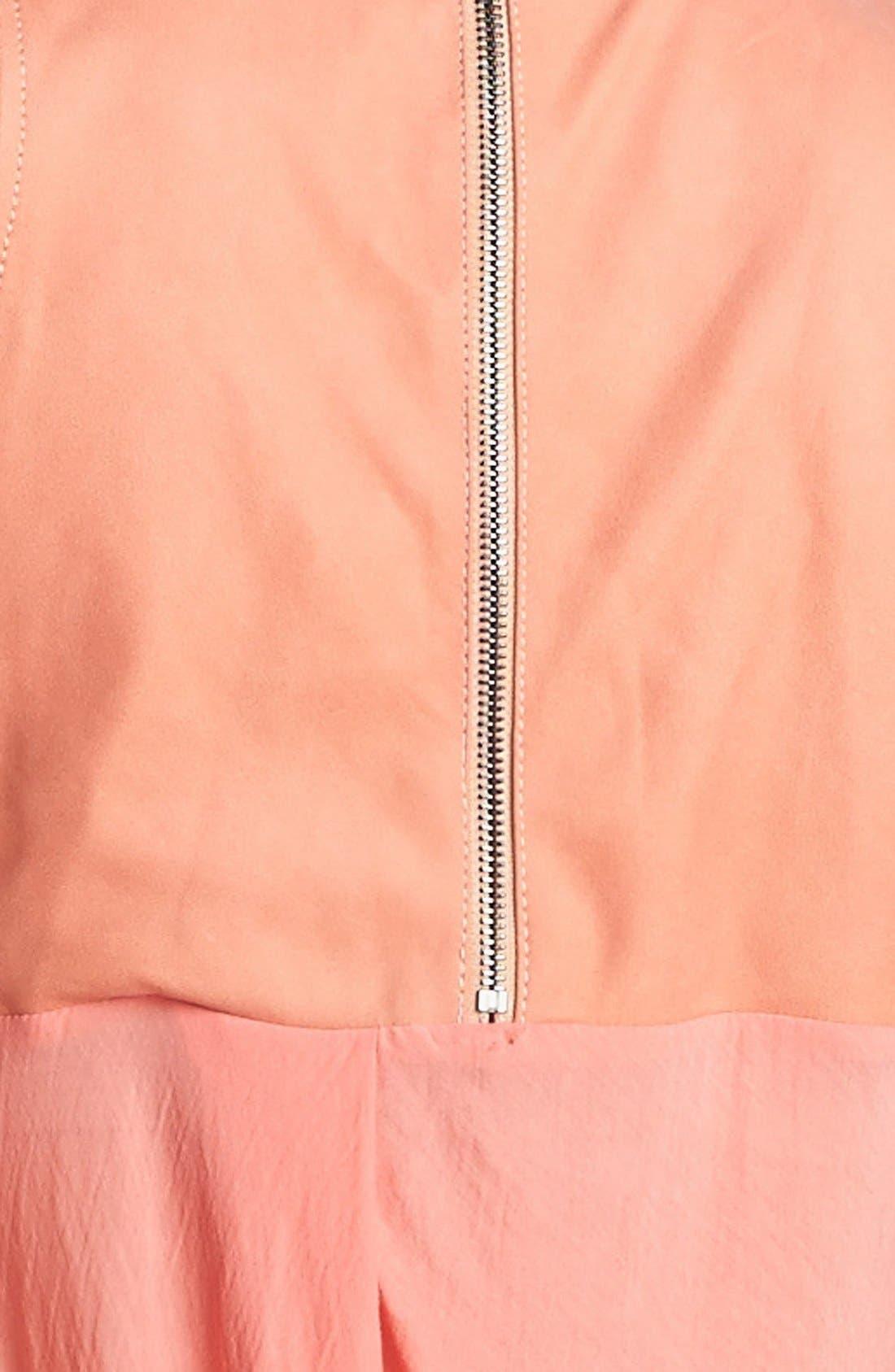Alternate Image 4  - Helmut Lang Leather Trim Jersey Turtleneck