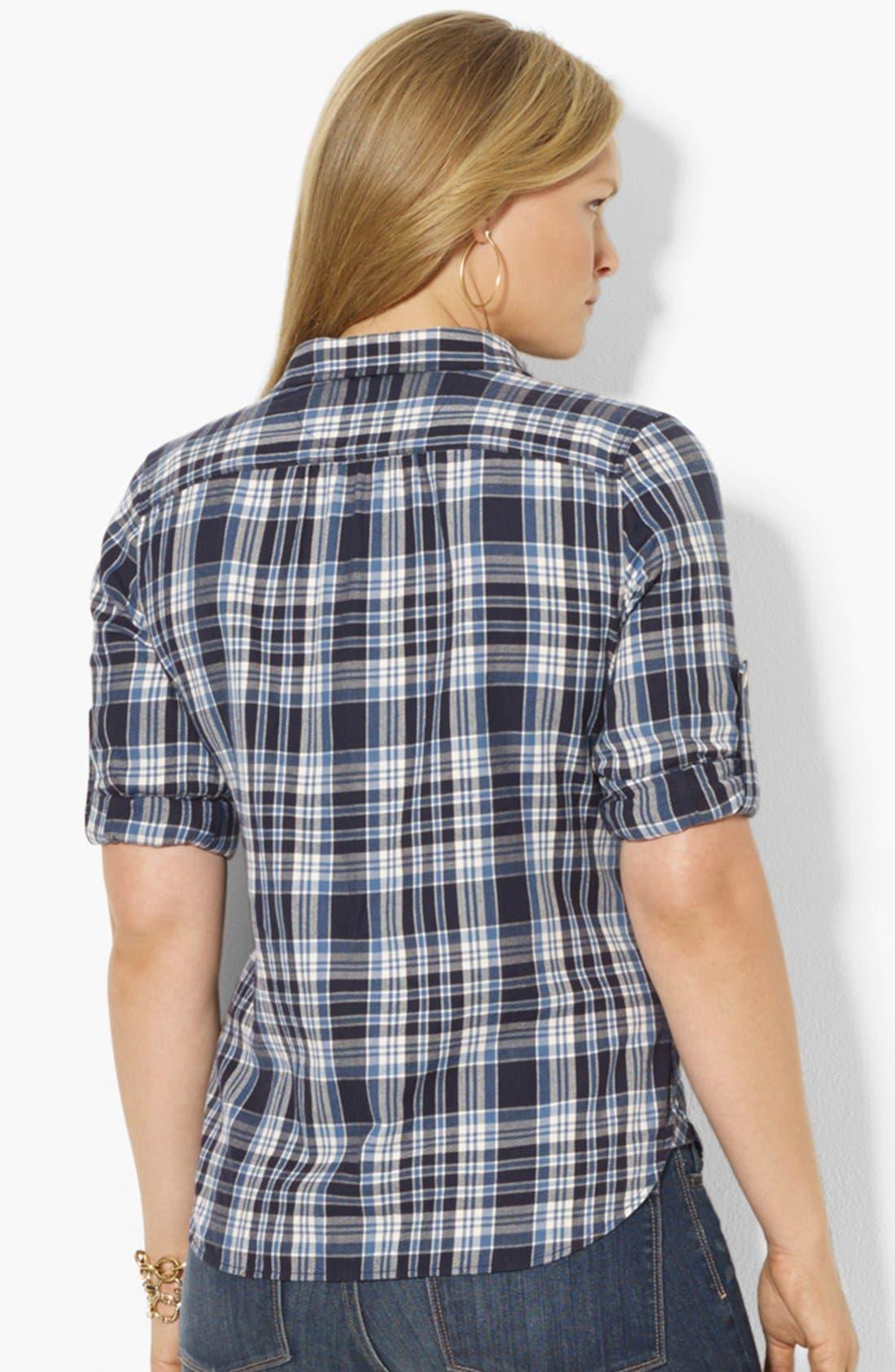 Alternate Image 2  - Lauren Ralph Lauren Plaid Shirt (Plus Size)