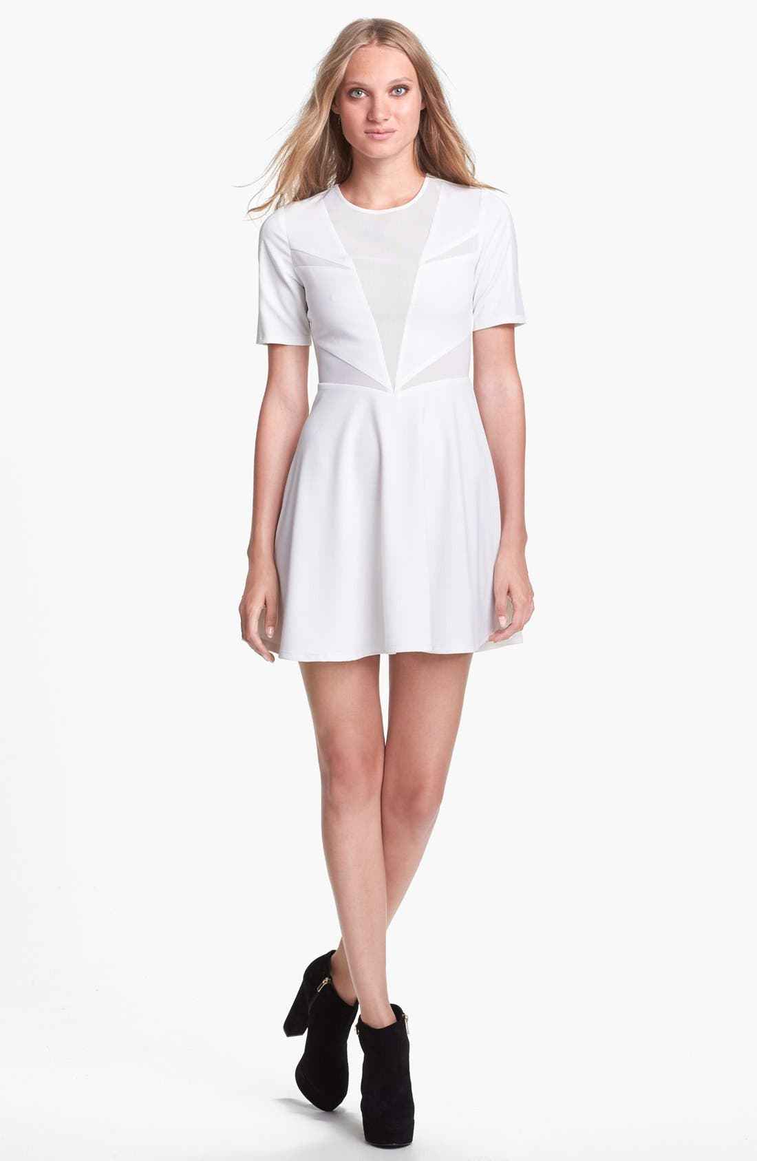 Alternate Image 1 Selected - Lucca Couture Mesh Inset Skater Dress