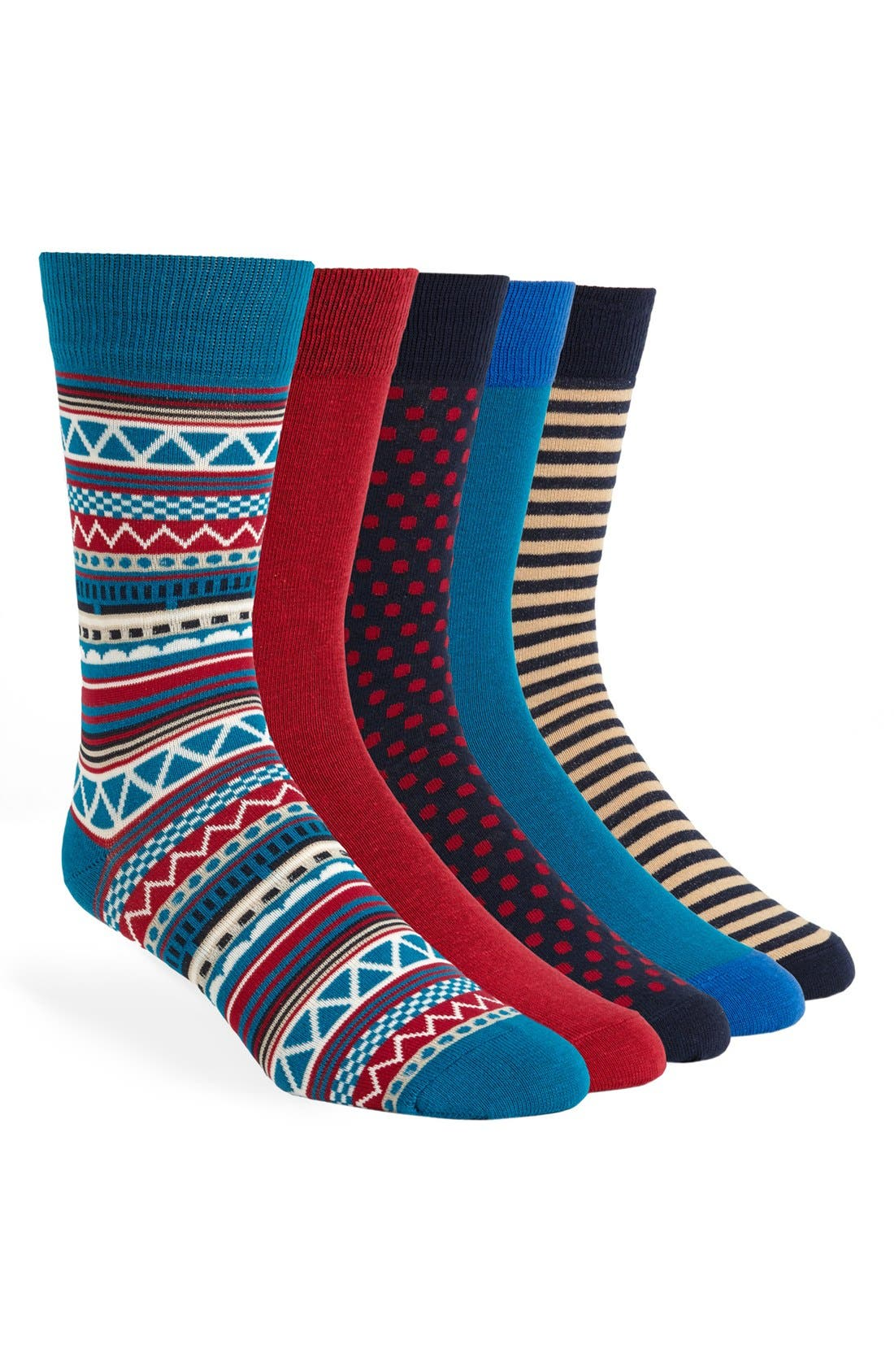 Alternate Image 1 Selected - Topman Stripe Socks (Assorted 5-Pack)