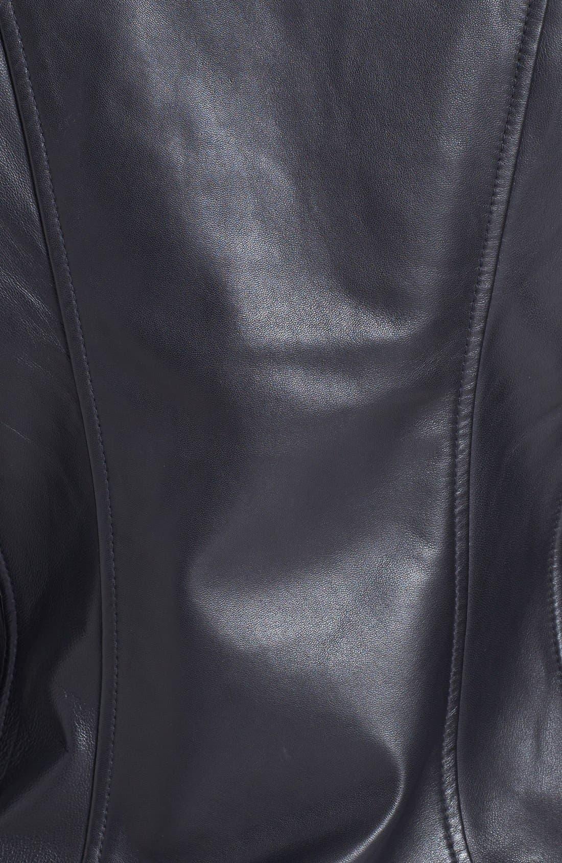 Alternate Image 3  - LaMarque Ribbed Side Leather Jacket
