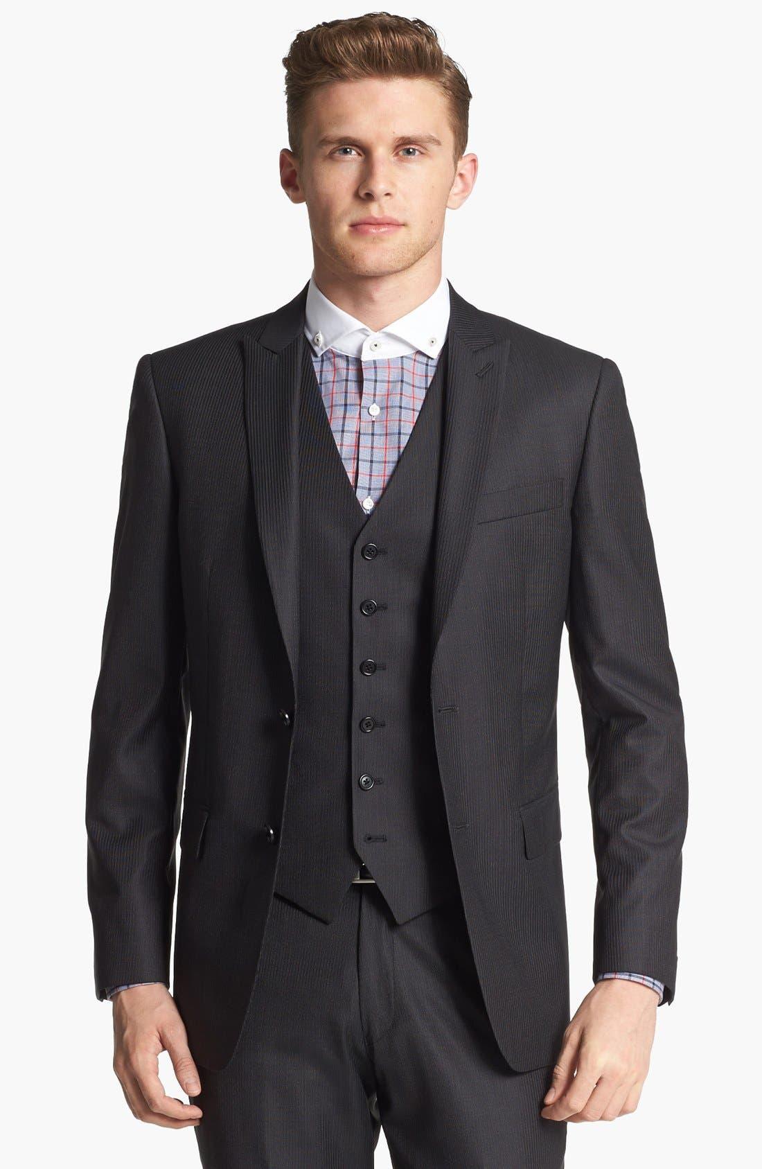 Alternate Image 3  - John Varvatos Star USA Trim Fit Three-Piece Wool Suit