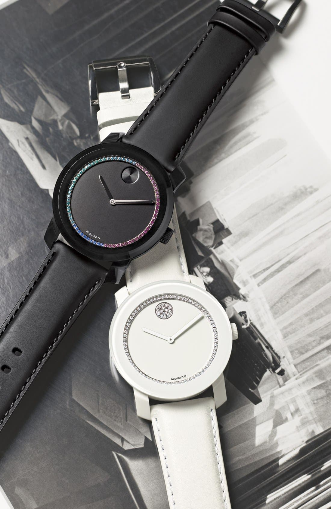 Alternate Image 3  - Movado 'Bold' Crystal Accent Leather Strap Watch, 42mm