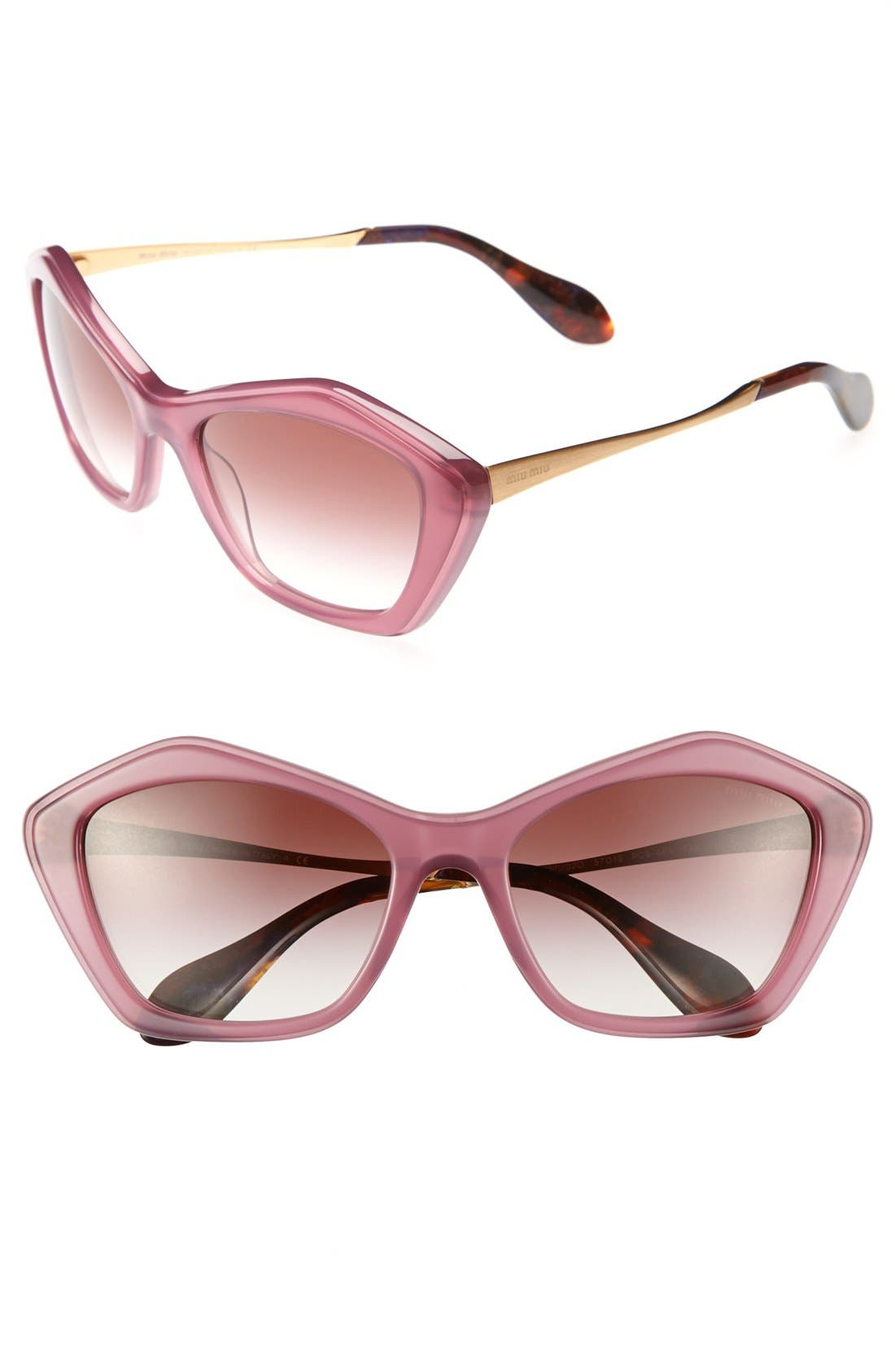 Main Image - Miu Miu Angled 57mm Sunglasses