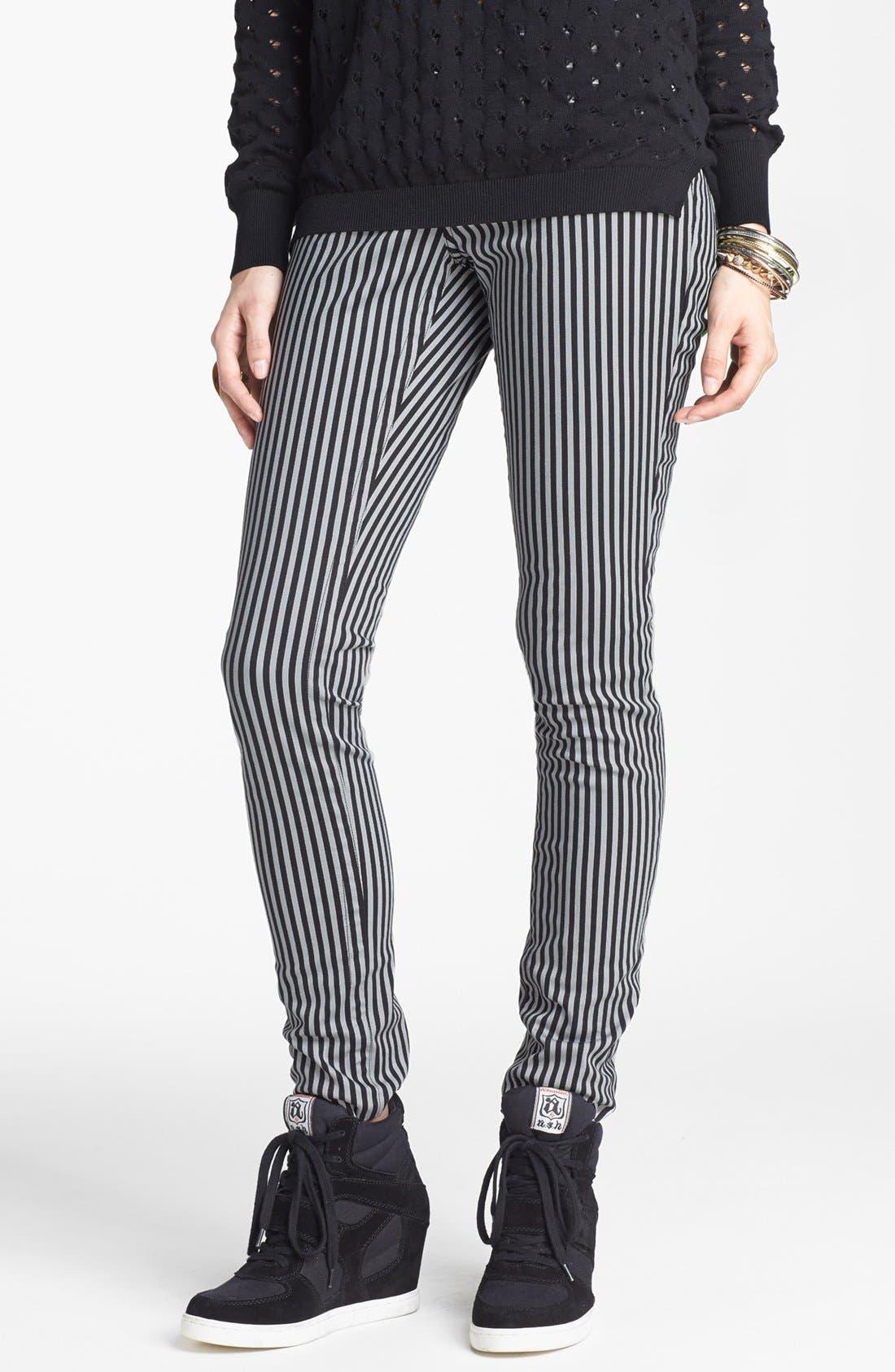 Main Image - INSTANT VINTAGE Stretch Denim Stripe Skinny Jeans (Juniors)