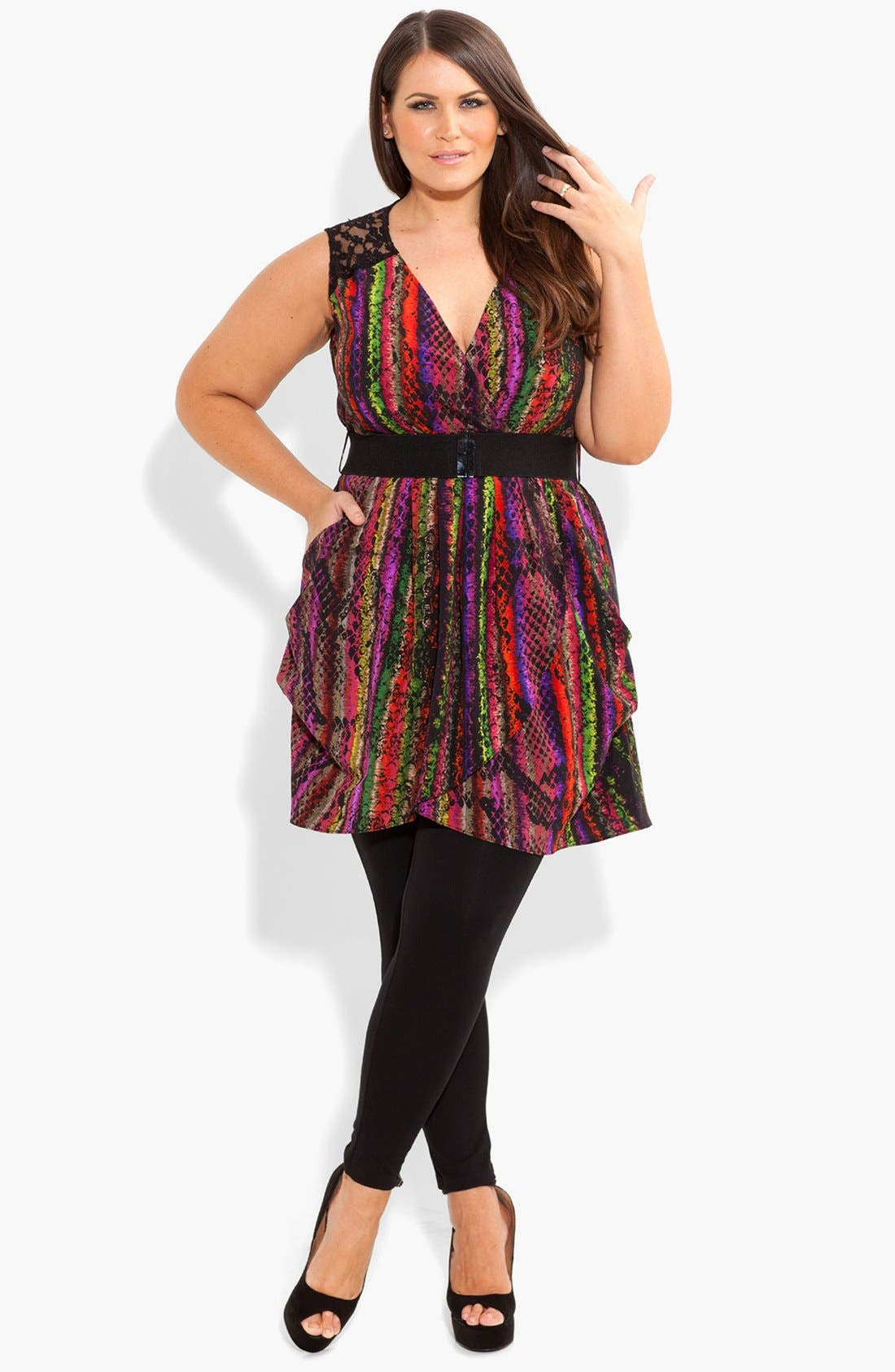 Alternate Image 4  - City Chic 'Rainbow Serpent' Lace Trim Print Top(Plus Size)