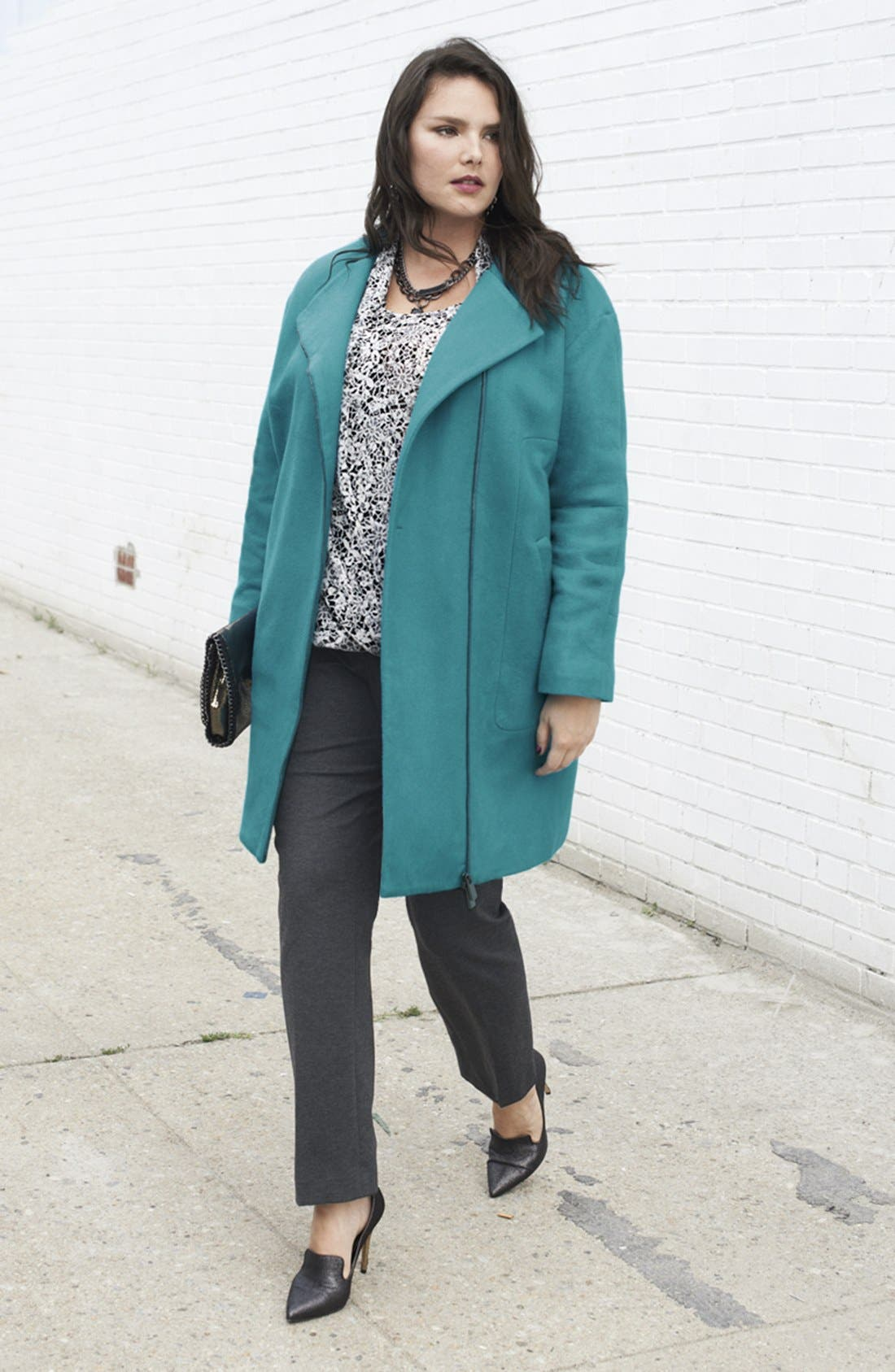 Main Image - Vince Camuto Flannel Topper, Blouse & Trousers