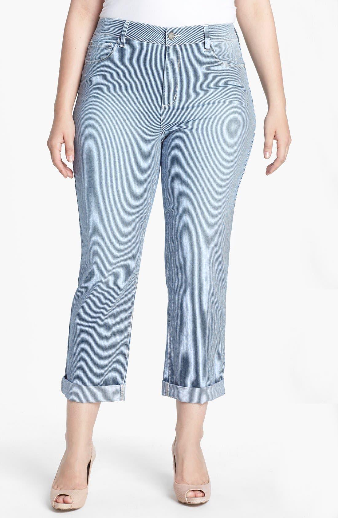 Main Image - NYDJ 'Tanya' Railroad Stripe Boyfriend Jeans (Plus Size)
