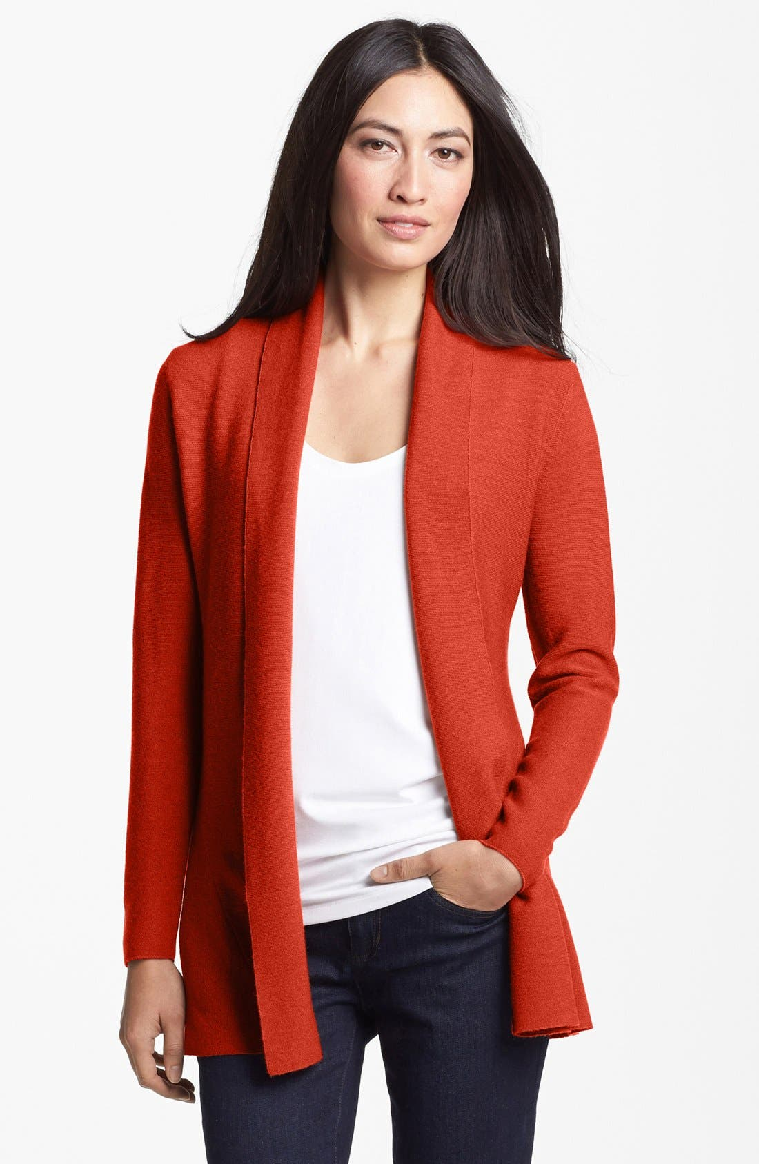 Alternate Image 1 Selected - Eileen Fisher Merino Open Front Cardigan (Petite)