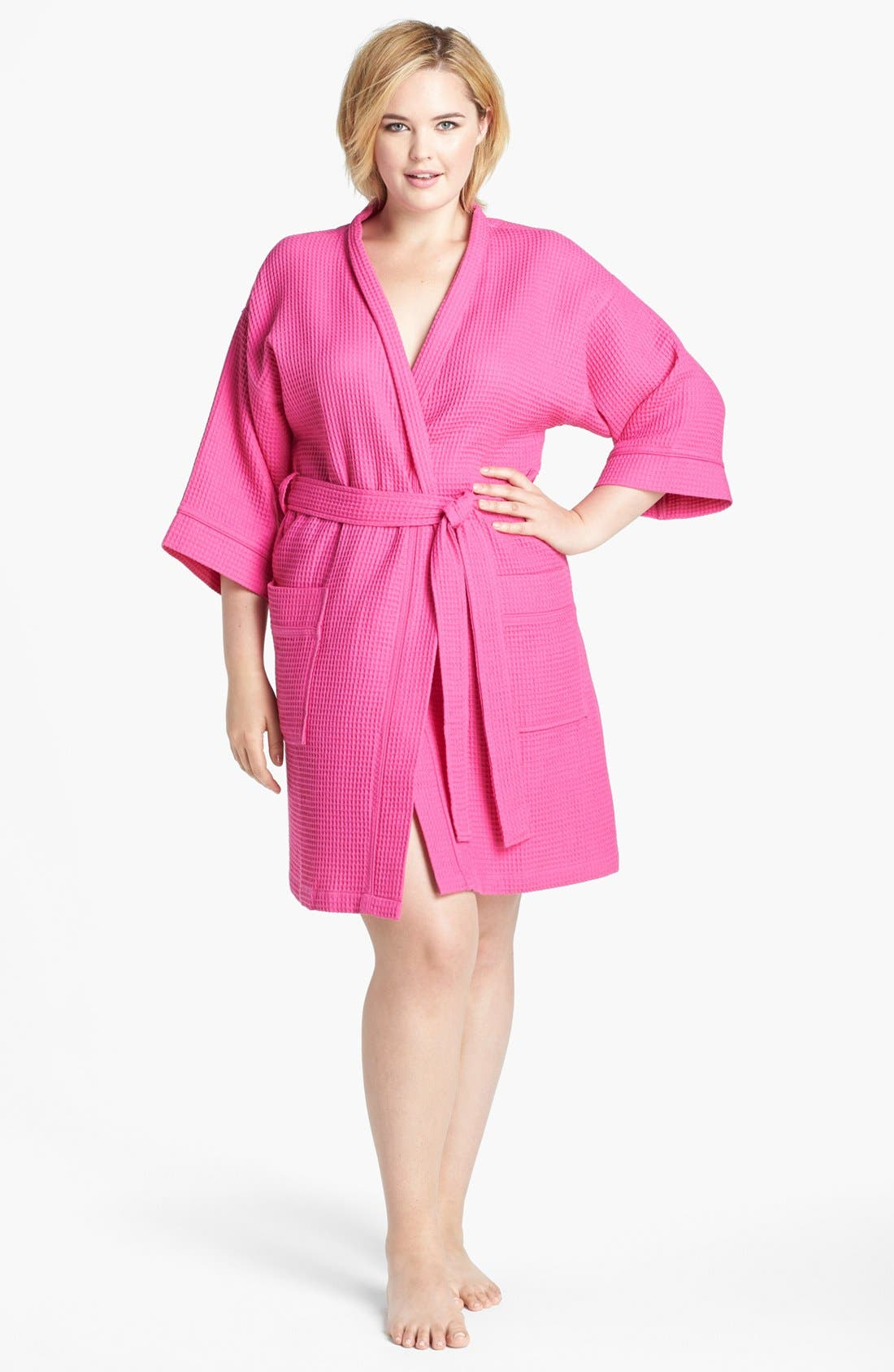 Alternate Image 1 Selected - Nordstrom Waffle Cotton Robe (Plus Size)