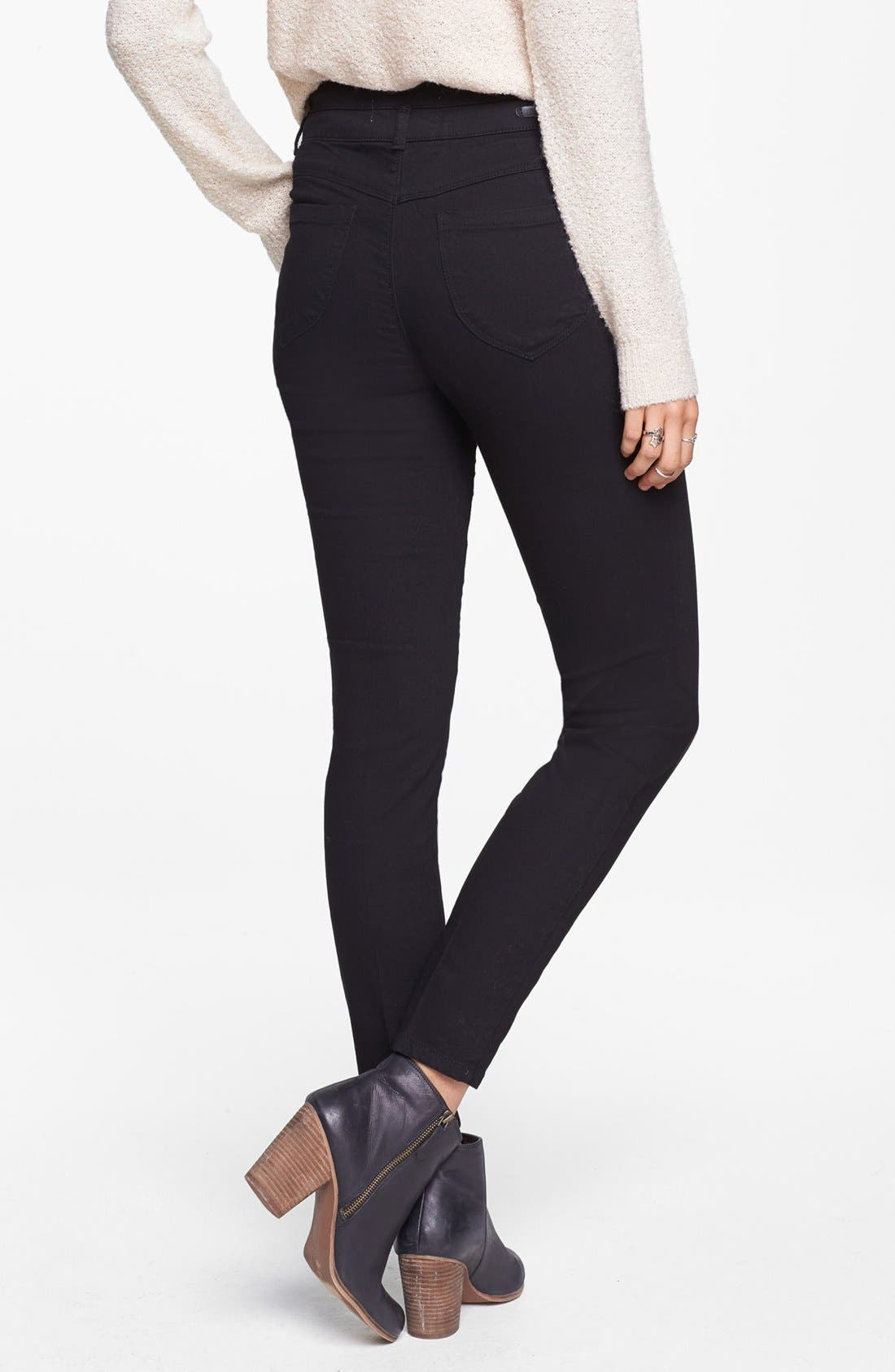 Alternate Image 2  - Jolt High Waist Skinny Jeans (Black) (Juniors)