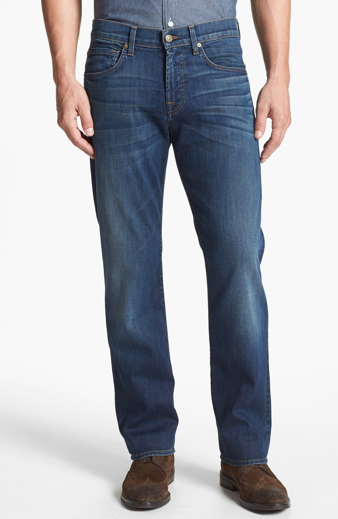 Main Image - 7 For All Mankind® 'Carsen - Luxe Performance' Easy Straight Leg Jeans (Half Moon Blue)
