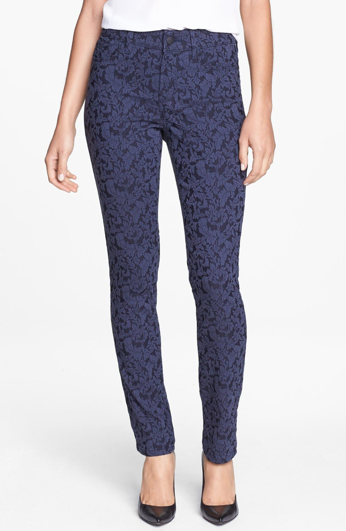 Main Image - NYDJ 'Jade' Patterned Stretch Skinny Jeans (Navy Jacquard)