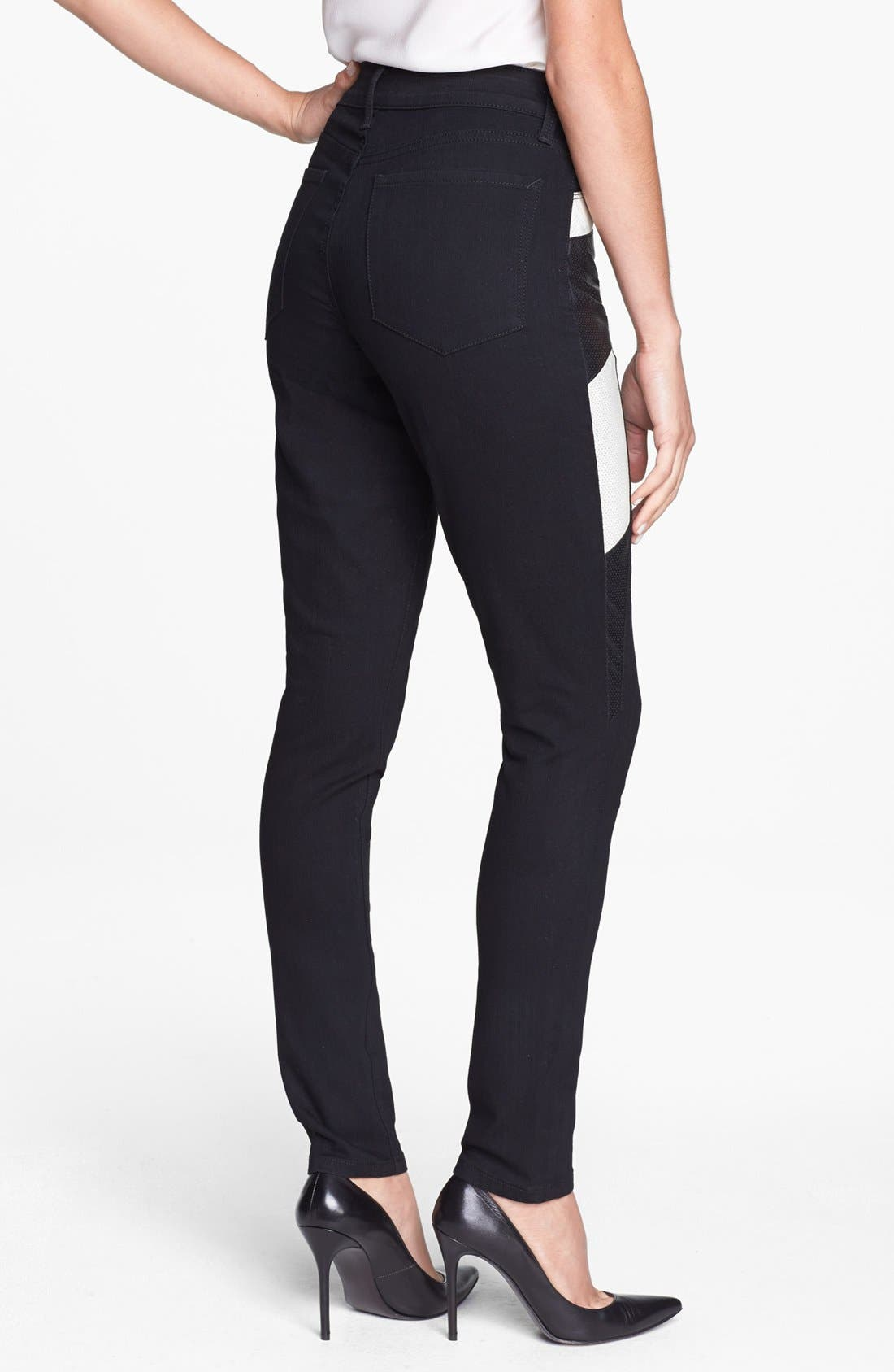 Alternate Image 2  - NYDJ 'Aiden' Perforated Side Panel Stretch Skinny Jeans