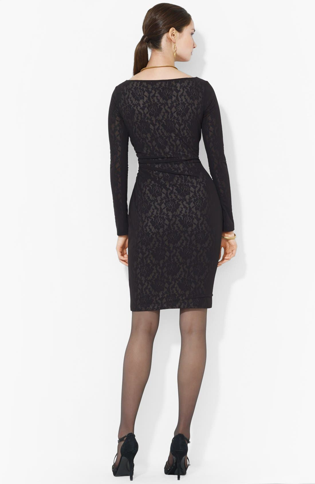 Alternate Image 2  - Lauren Ralph Lauren Mesh Overlay Lace Dress