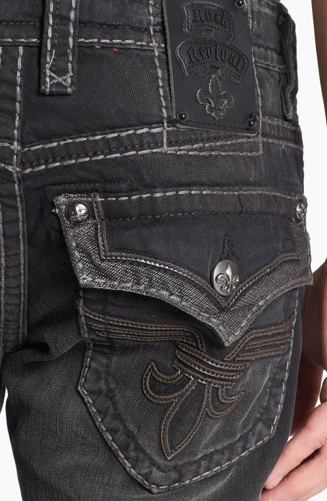 Alternate Image 4  - Rock Revival 'Chopper' Straight Leg Jeans (Black)