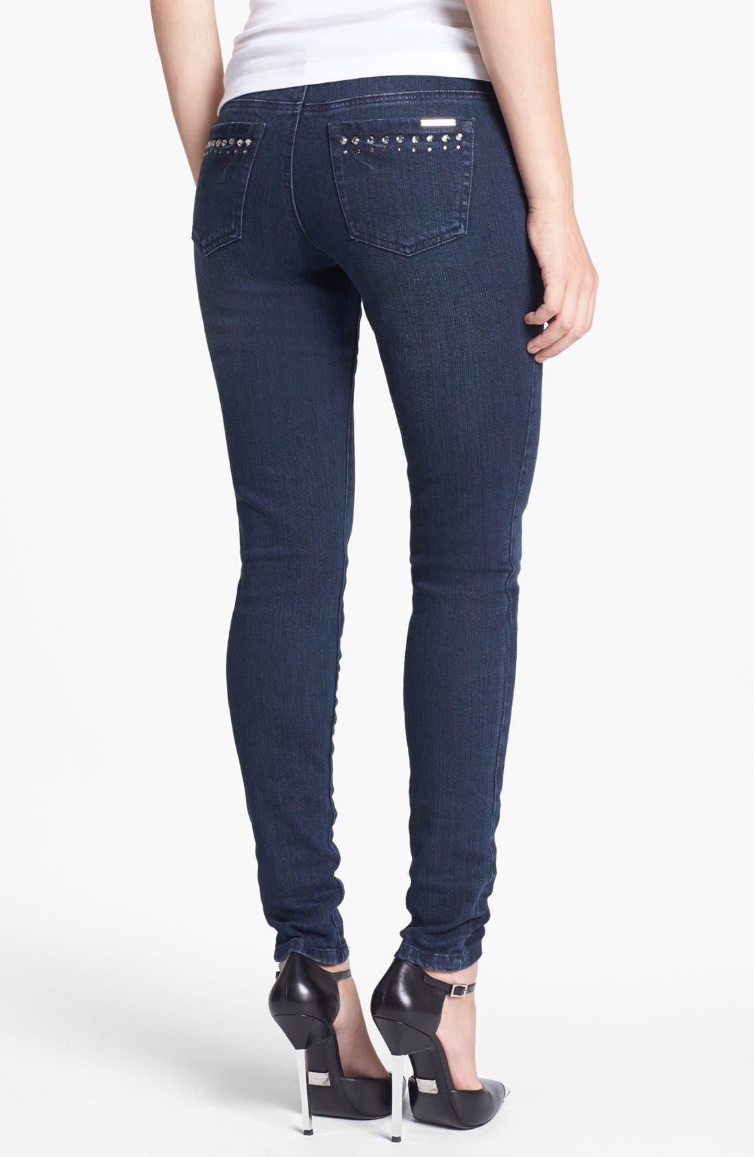 Alternate Image 2  - MICHAEL Michael Kors Embellished Skinny Jeans (Stellar)