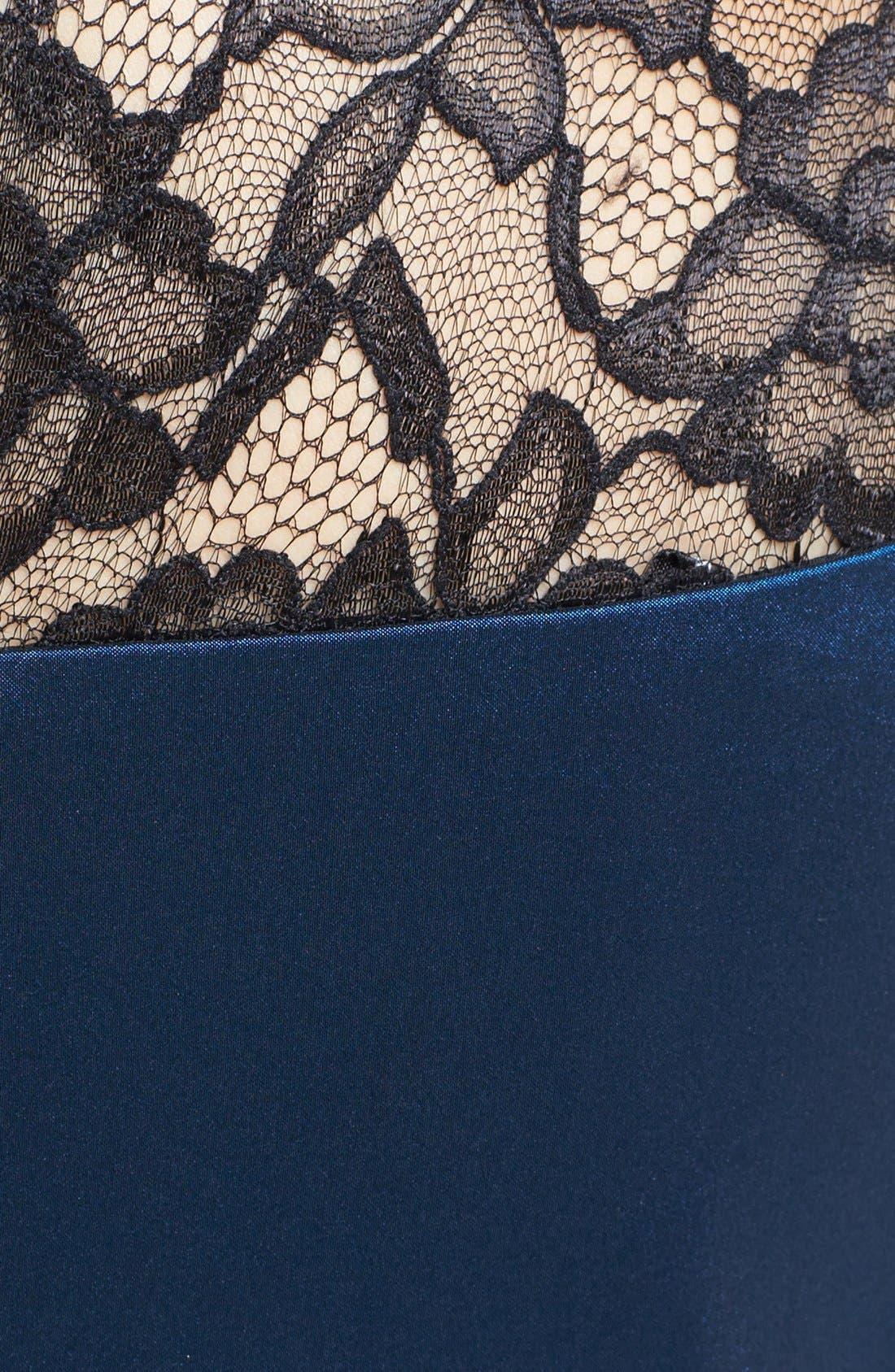 Alternate Image 3  - Maggy London Lace Yoke Taffeta Fit & Flare Dress