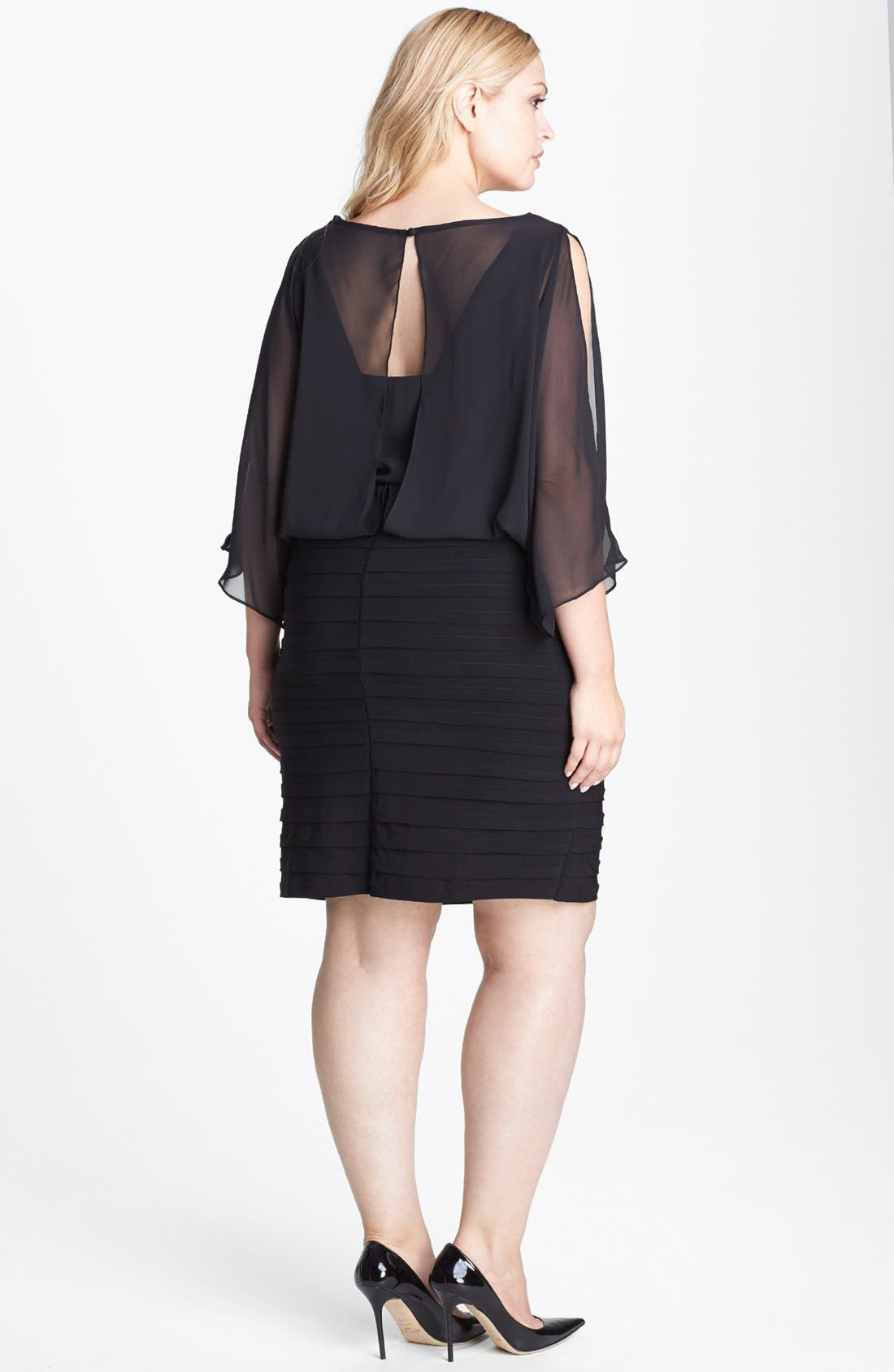 Alternate Image 2  - Xscape Embellished Keyhole Mixed Media Blouson Dress (Plus Size)