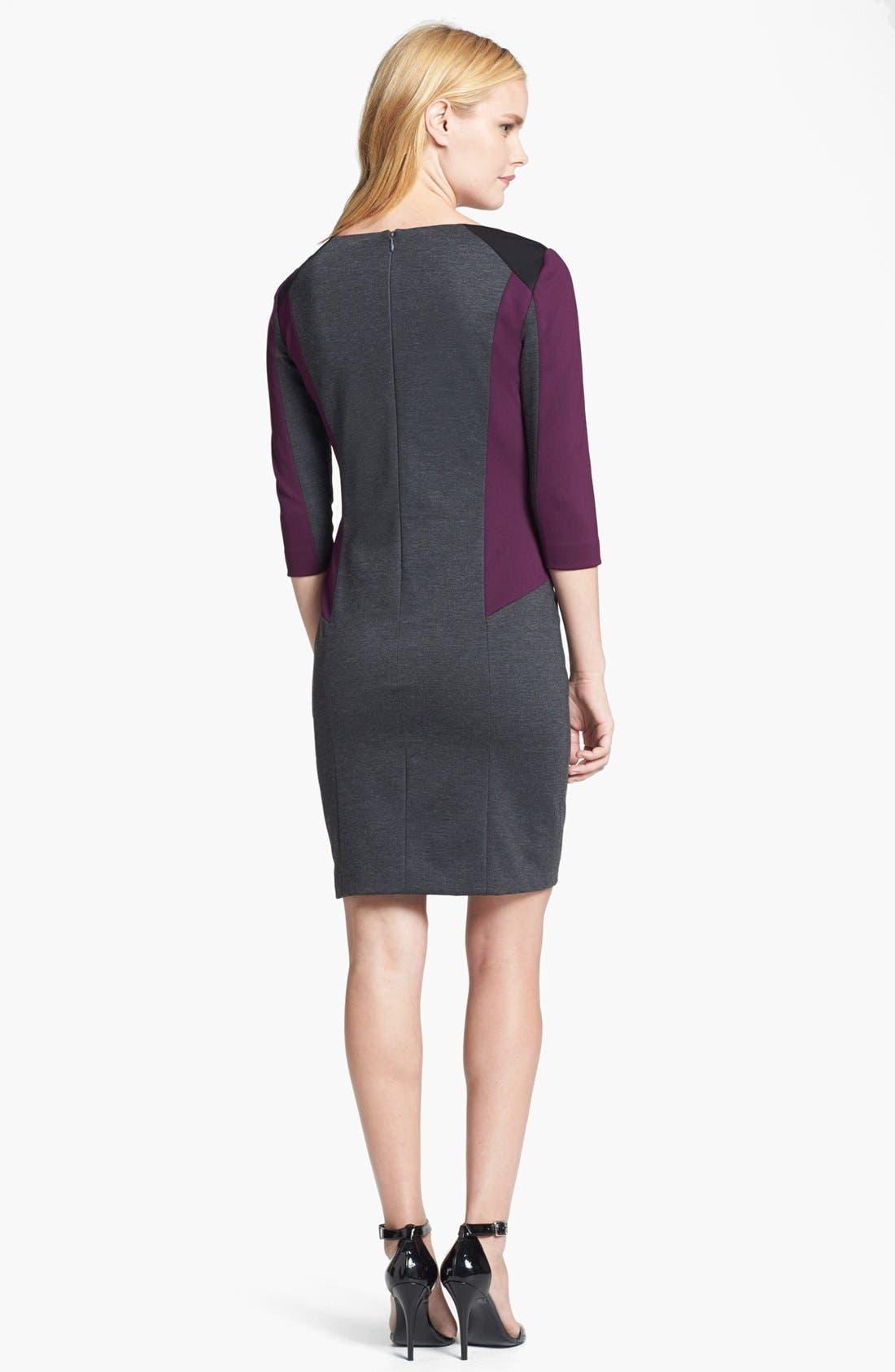 Alternate Image 2  - Tahari Colorblock Sheath Dress (Petite)
